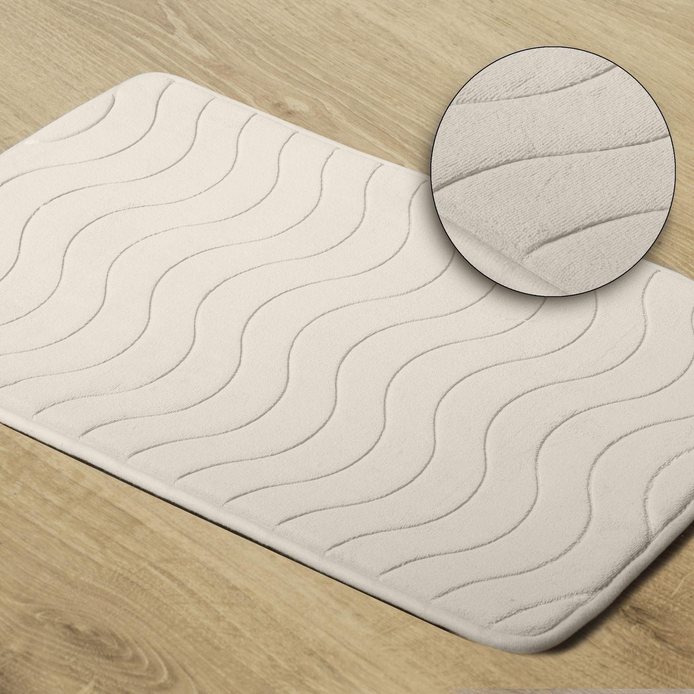 Dywanik łazienkowy wzór z falą kremowy 50x70cm