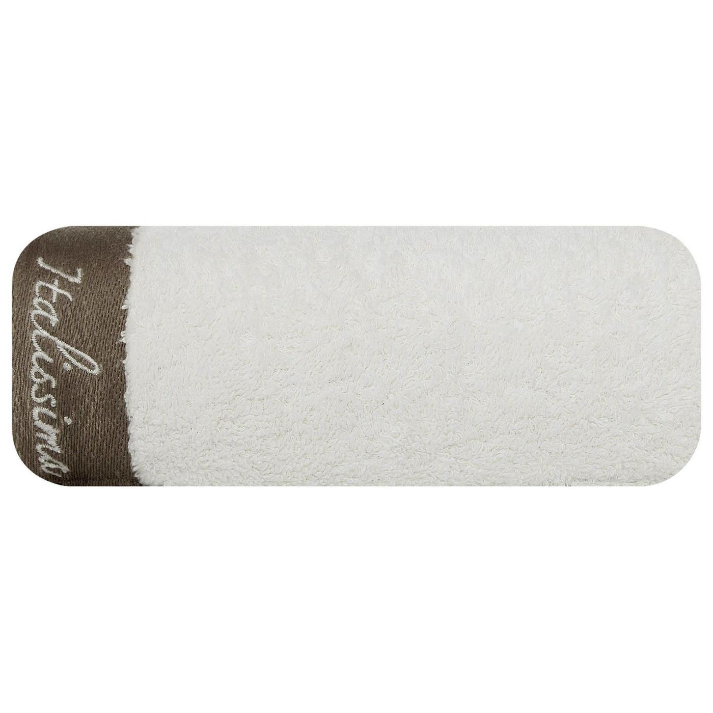 Ręcznik z haftem italissima home kremowy+brązowy 70x140cm