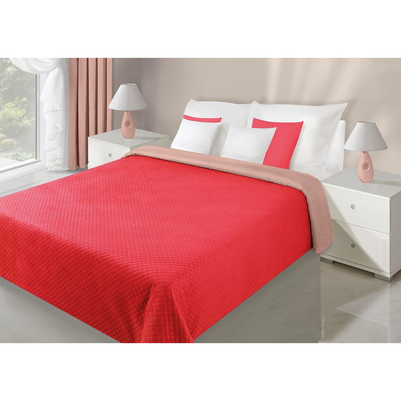 Narzuta dwustronna czerwony beż 230 x 260 cm