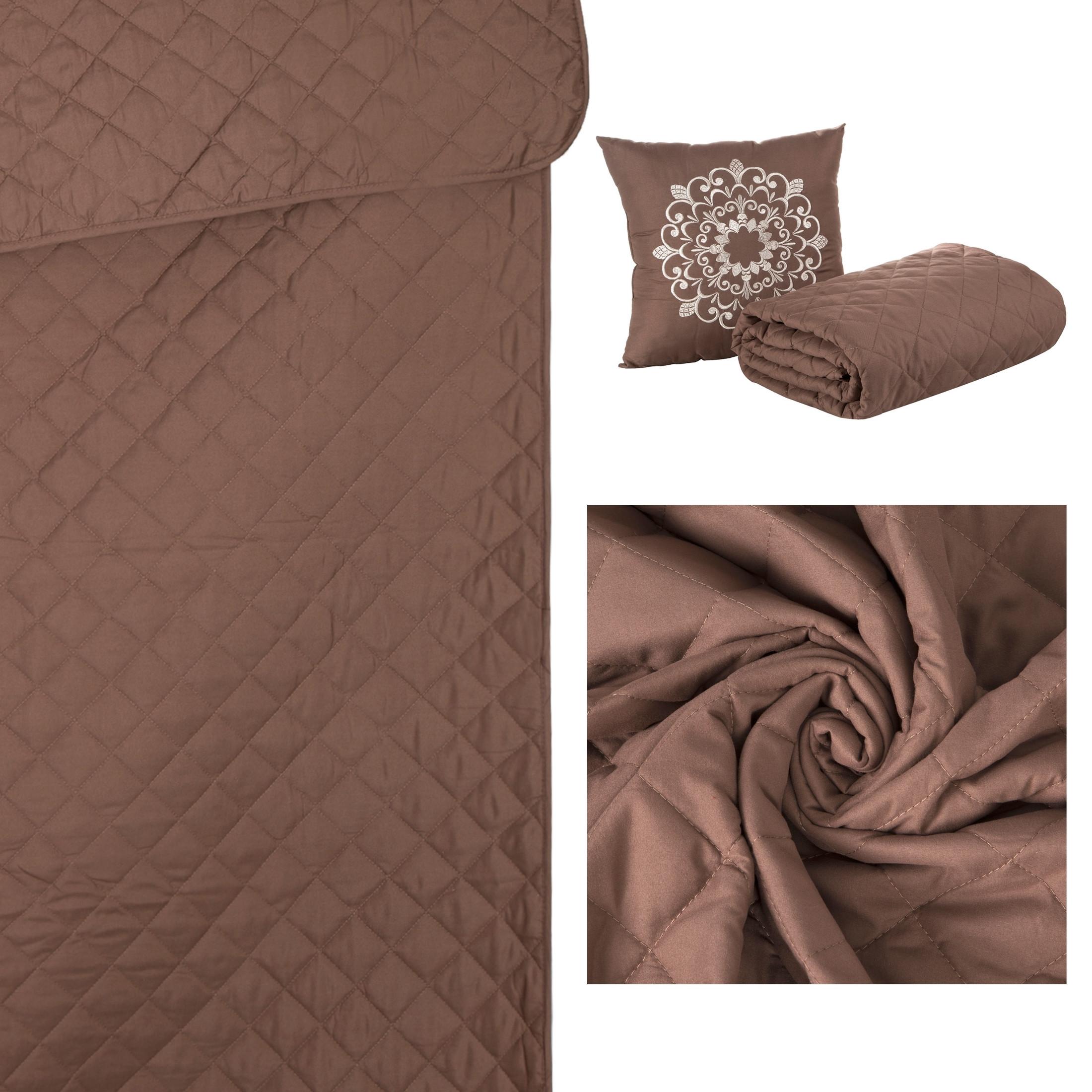 Narzuta pikowana w kwadraty czekoladowy brąz+poduszka 170x210cm