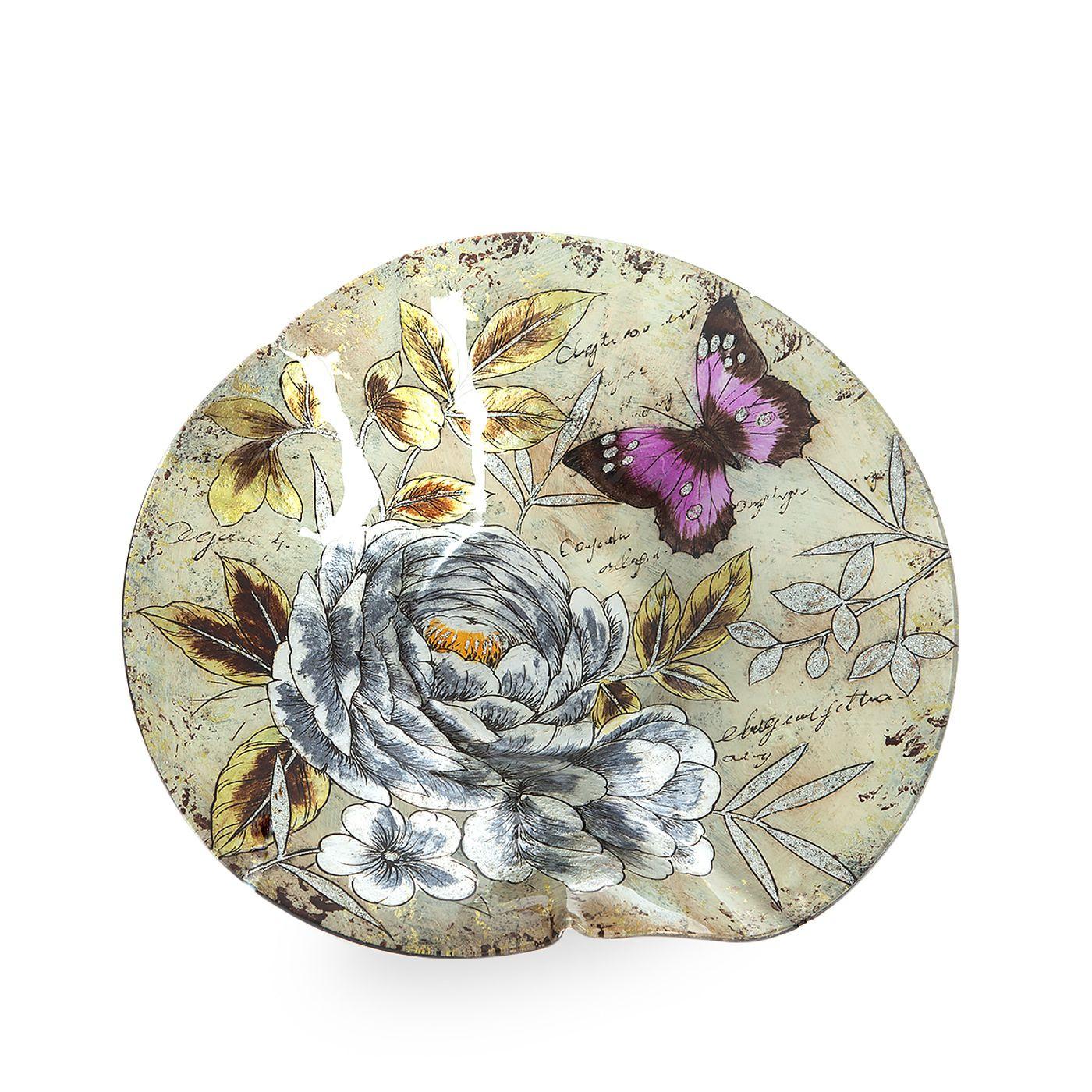 Talerz dekoracyjny szkło malowane kwiaty