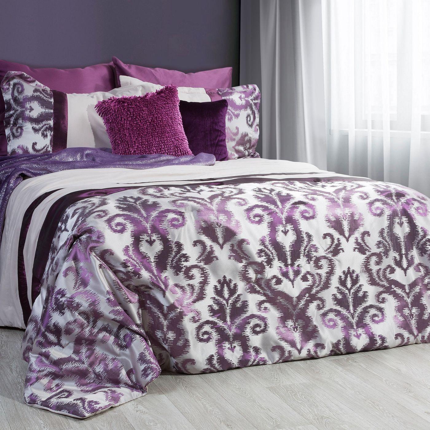 Narzuta + poszewka ornament fiolet brąz 170 x 210 cm, 1