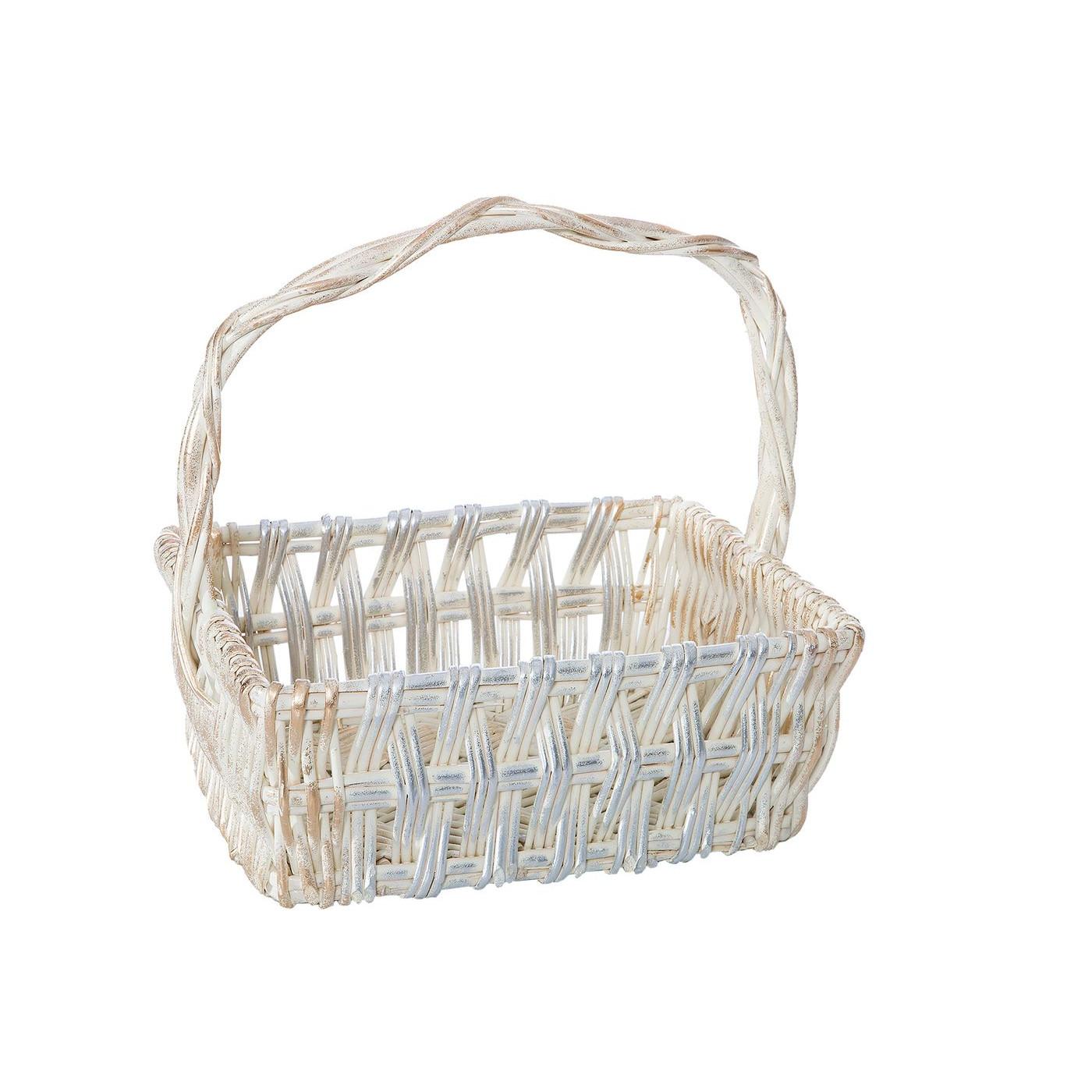 Koszyk z naturalnej wikliny 42 x 31 x 16 cm biało-złoty