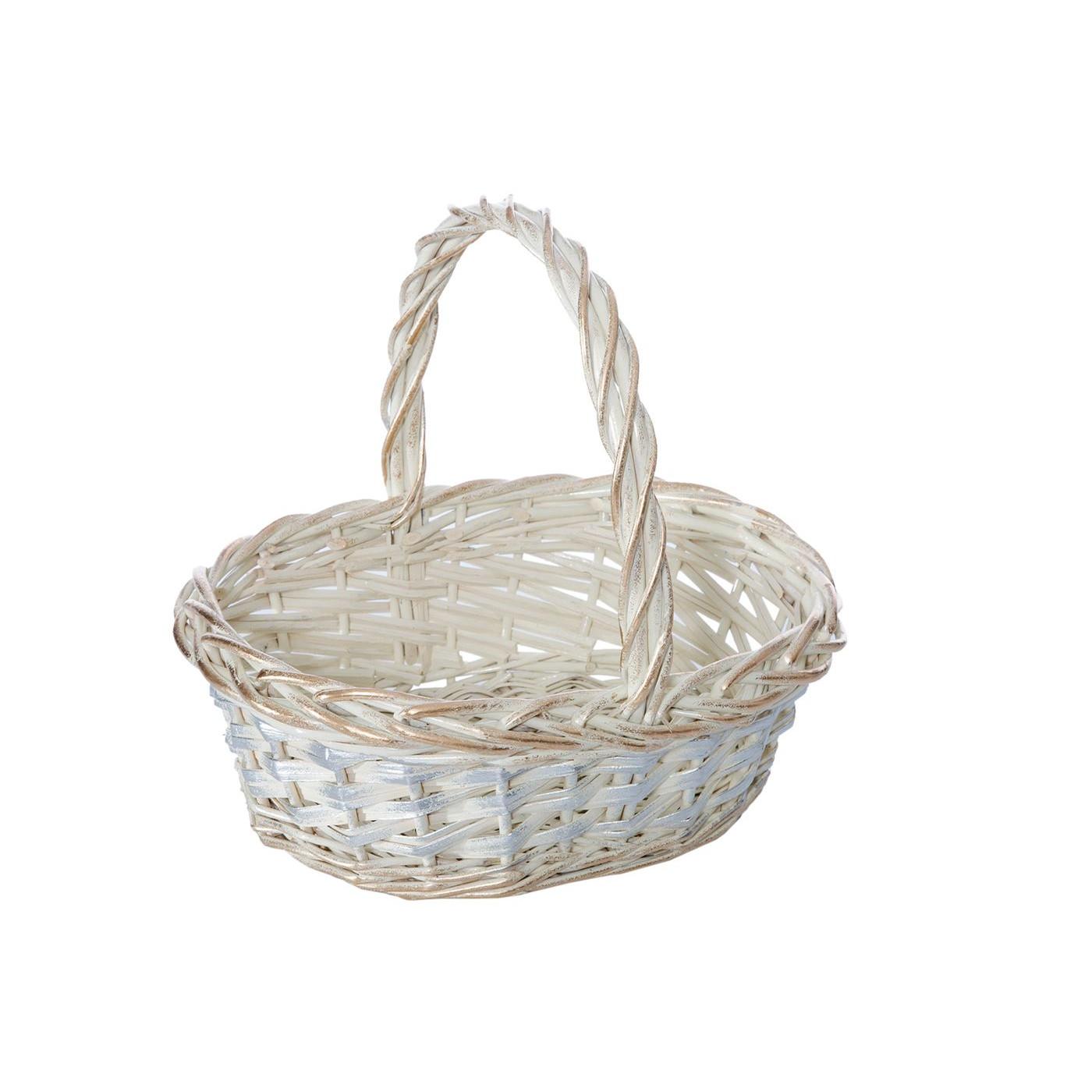 Koszyk z naturalnej wikliny 43 x 36 x 17 cm biało-złoty