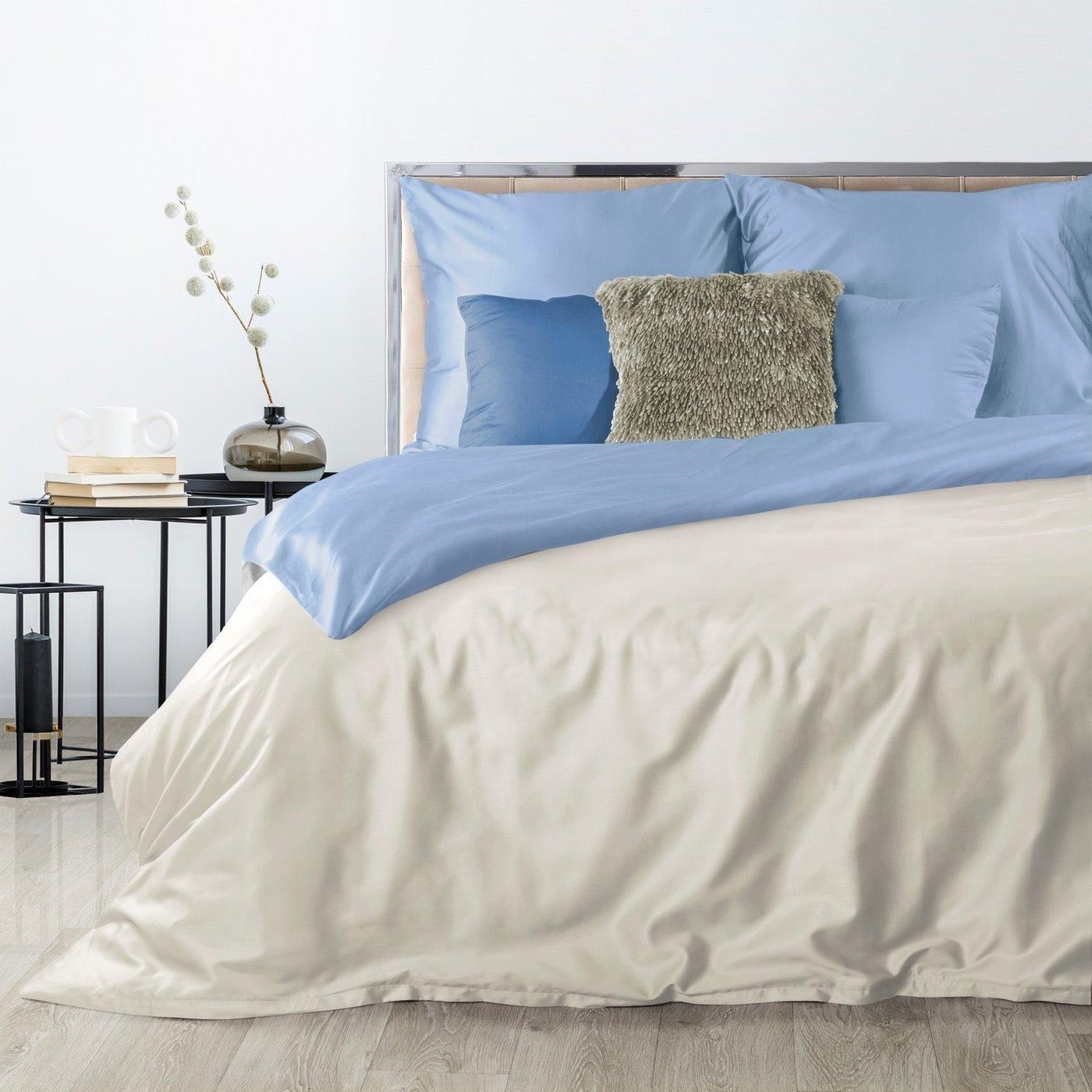Komplet pościel z makosatyny 160 x 200 cm, 2 szt. 70 x 80 cm dwustronny kremowo-niebieski