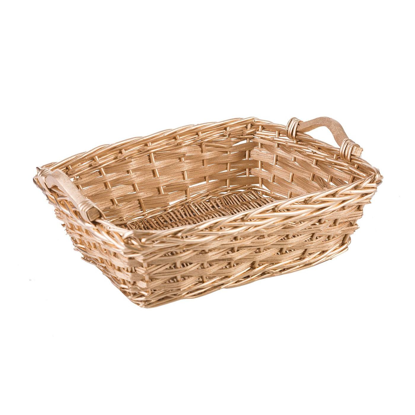 Koszyk z naturalnej wikliny 41 x 32 x 13 cm biało-złoty