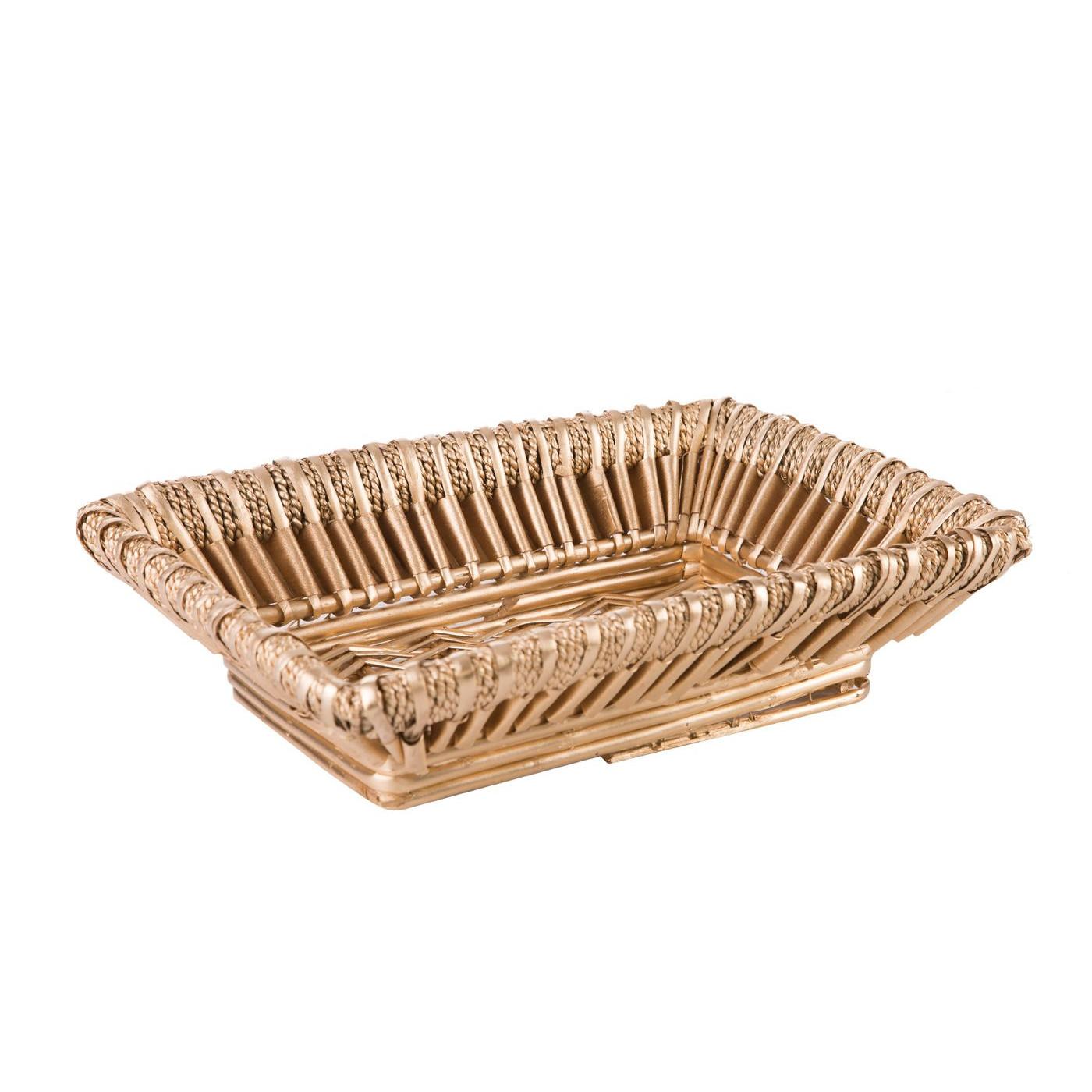 Koszyk z naturalnej wikliny 40 x 28 x 11 cm cm biało-złoty