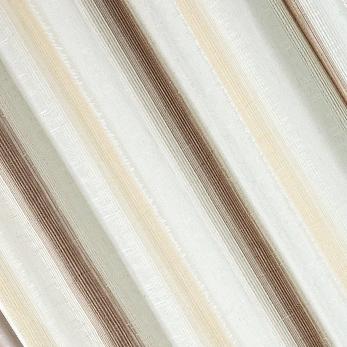 Zasłona w delikatne pionowe pasy brązowa przelotki 140x250cm