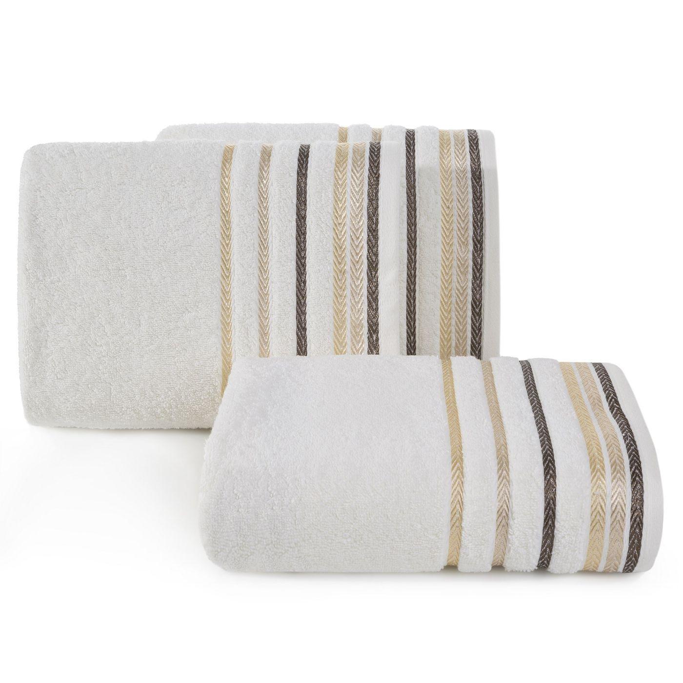 Ręcznik z bawełny z kolorowymi paskami w jodełkę 70x140cm kremowy