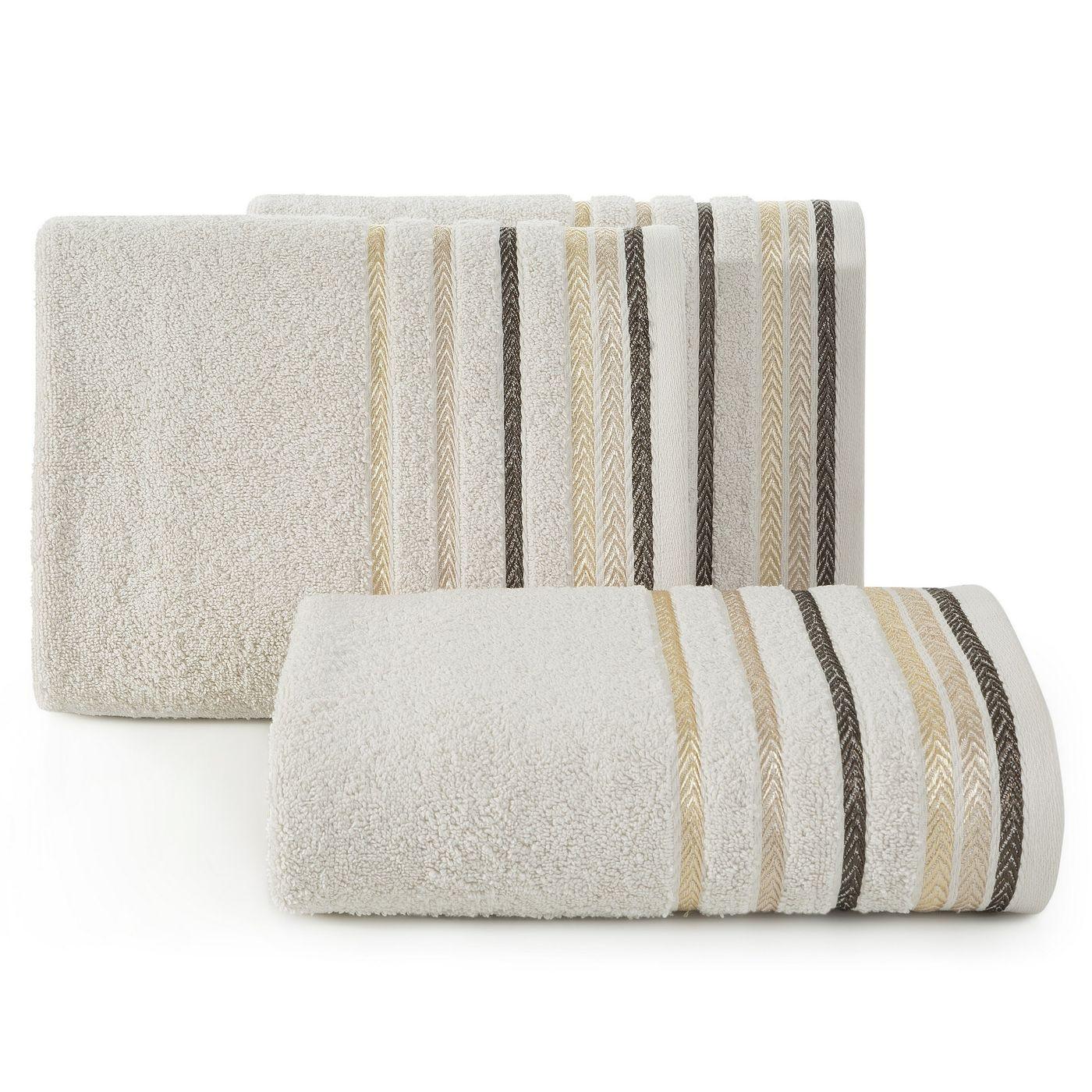 Ręcznik z bawełny z kolorowymi paskami w jodełkę 70x140cm beżowy
