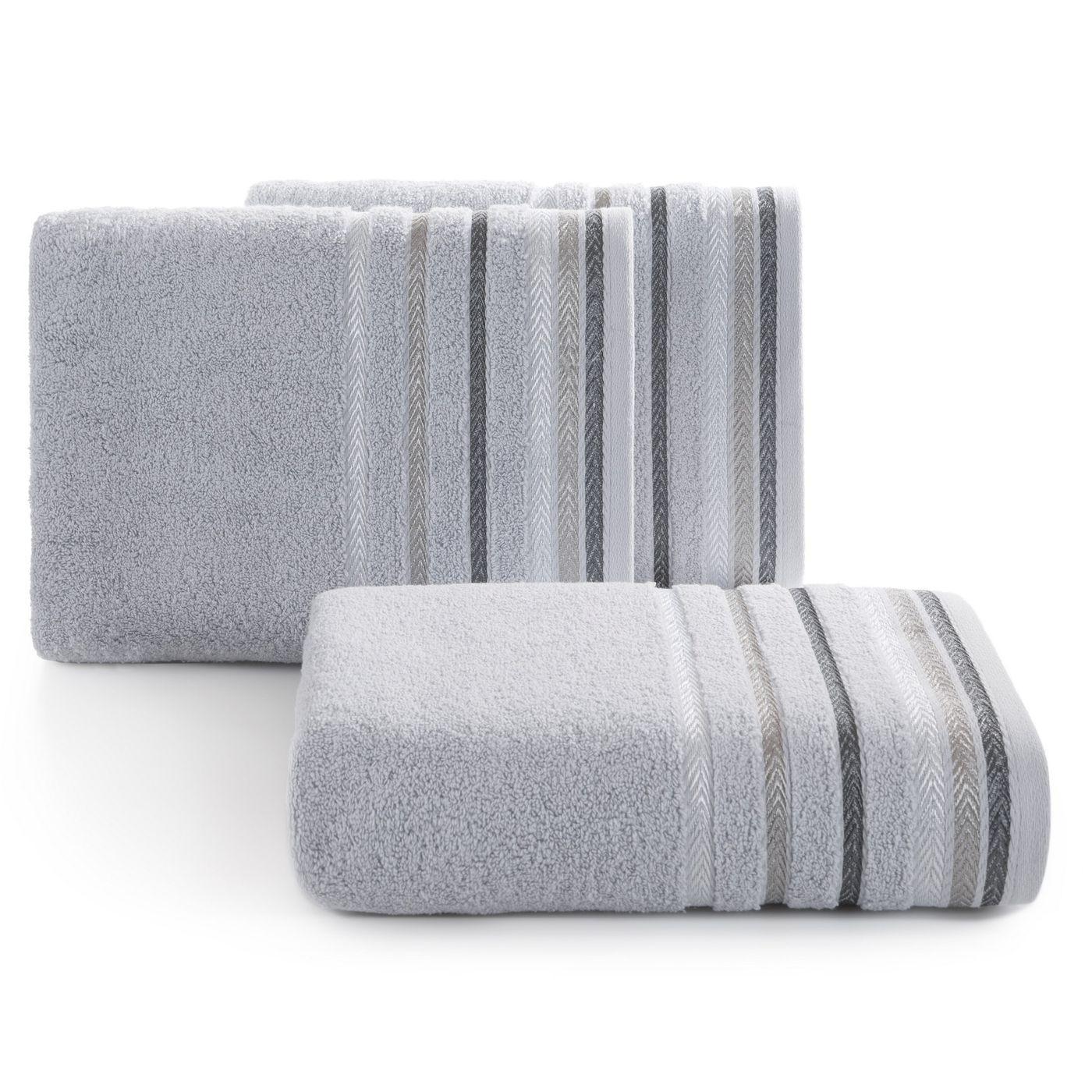Ręcznik z bawełny z kolorowymi paskami w jodełkę 50x90cm srebrny