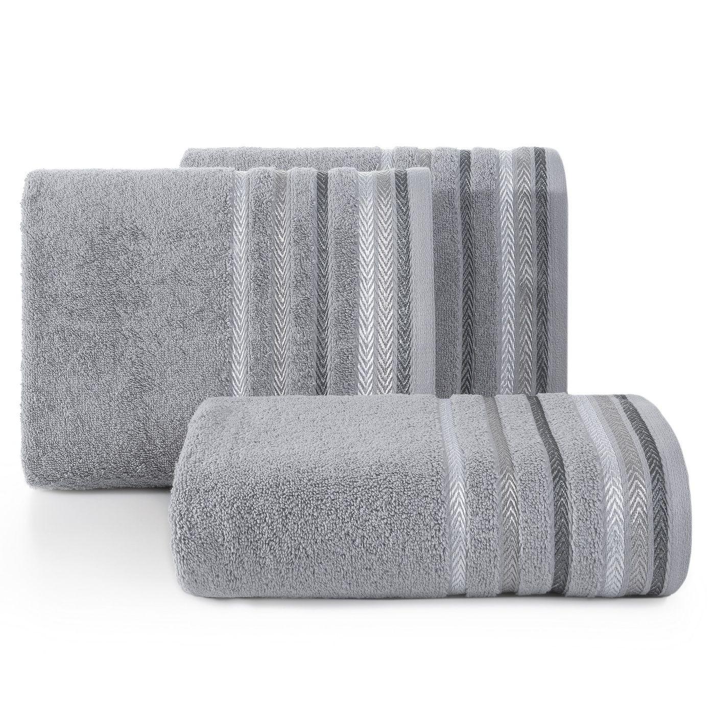 Ręcznik z bawełny z kolorowymi paskami w jodełkę 70x140cm szary