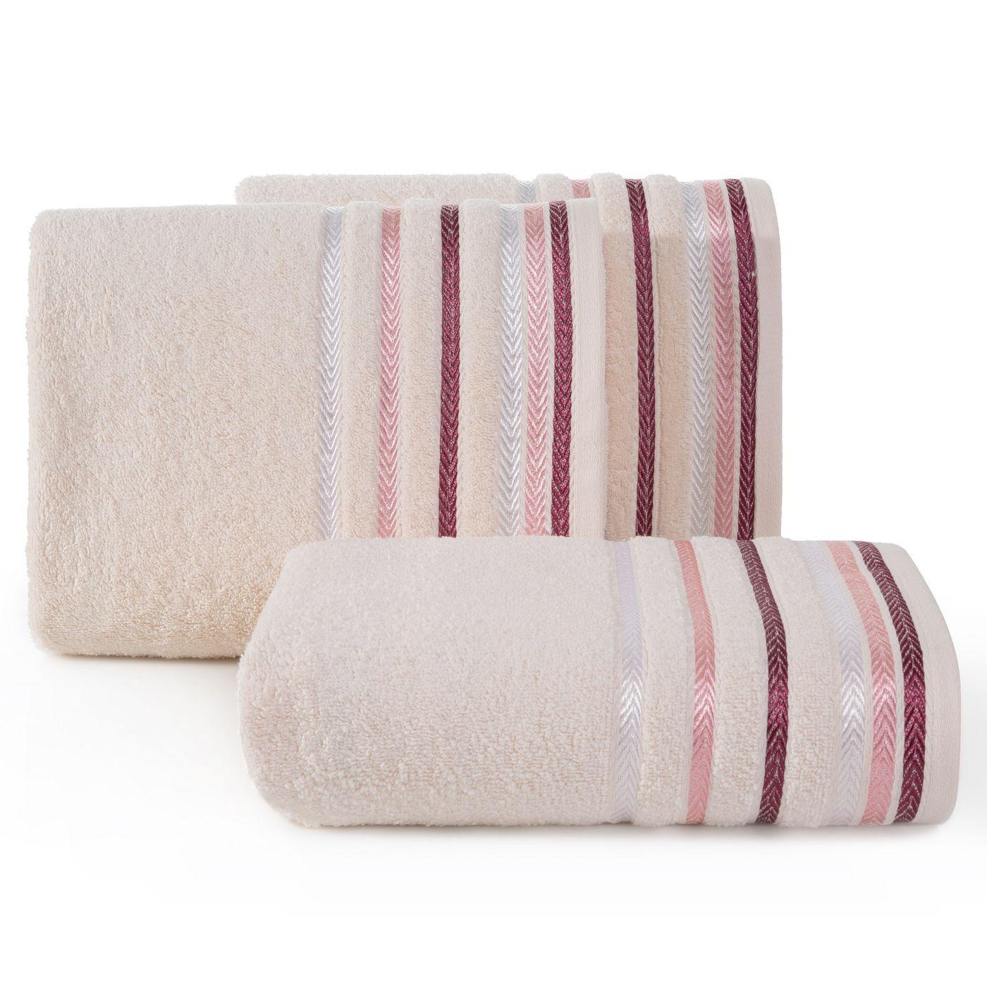 Ręcznik z bawełny z kolorowymi paskami w jodełkę 50x90cm jasnoróżowy
