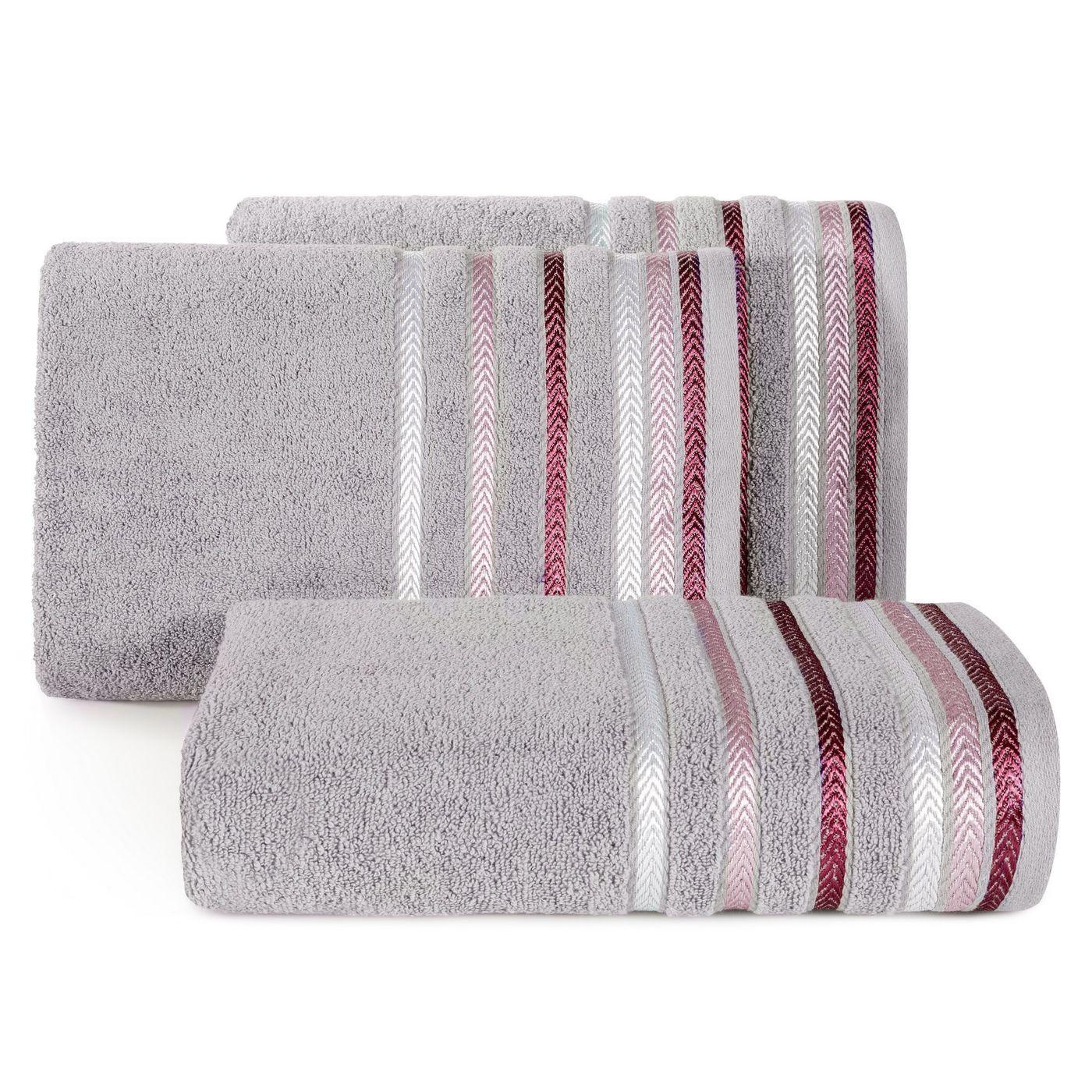 Ręcznik z bawełny z kolorowymi paskami w jodełkę 70x140 wrzosowy