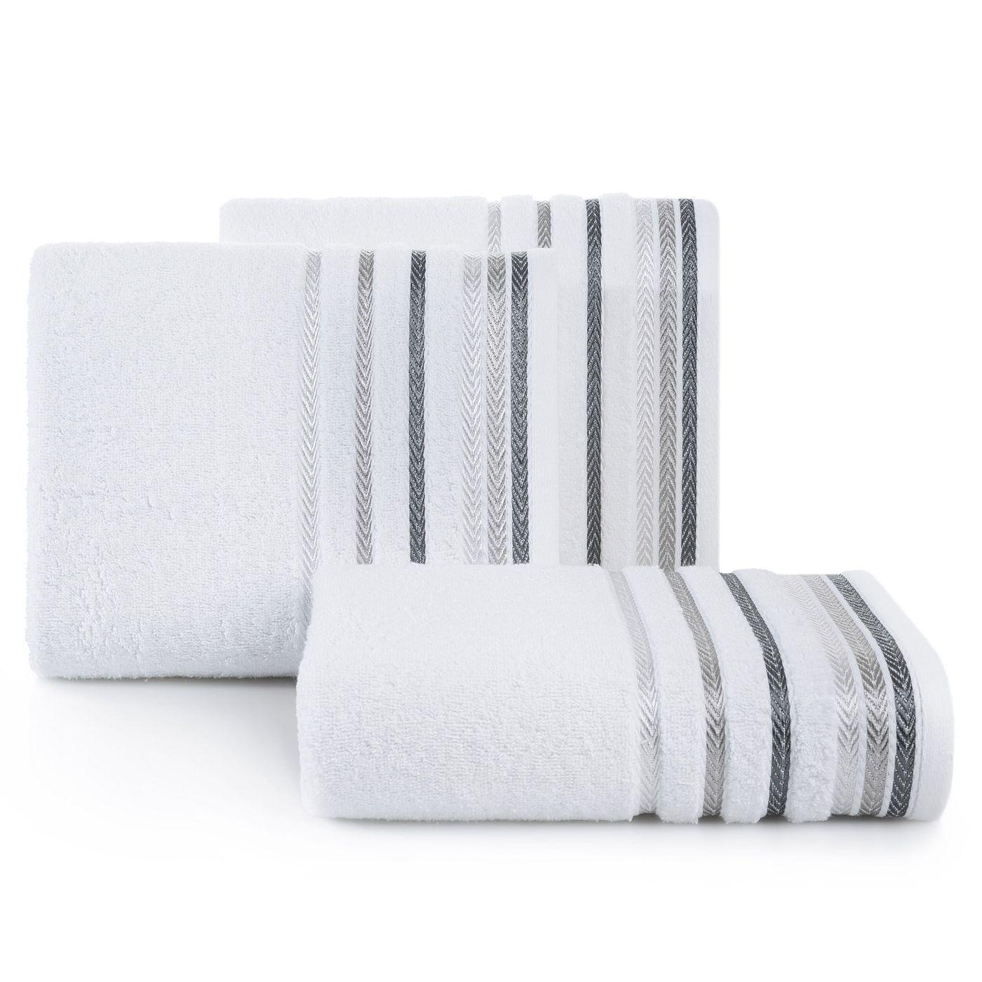 Ręcznik z bawełny z kolorowymi paskami w jodełkę 50x90cm biały