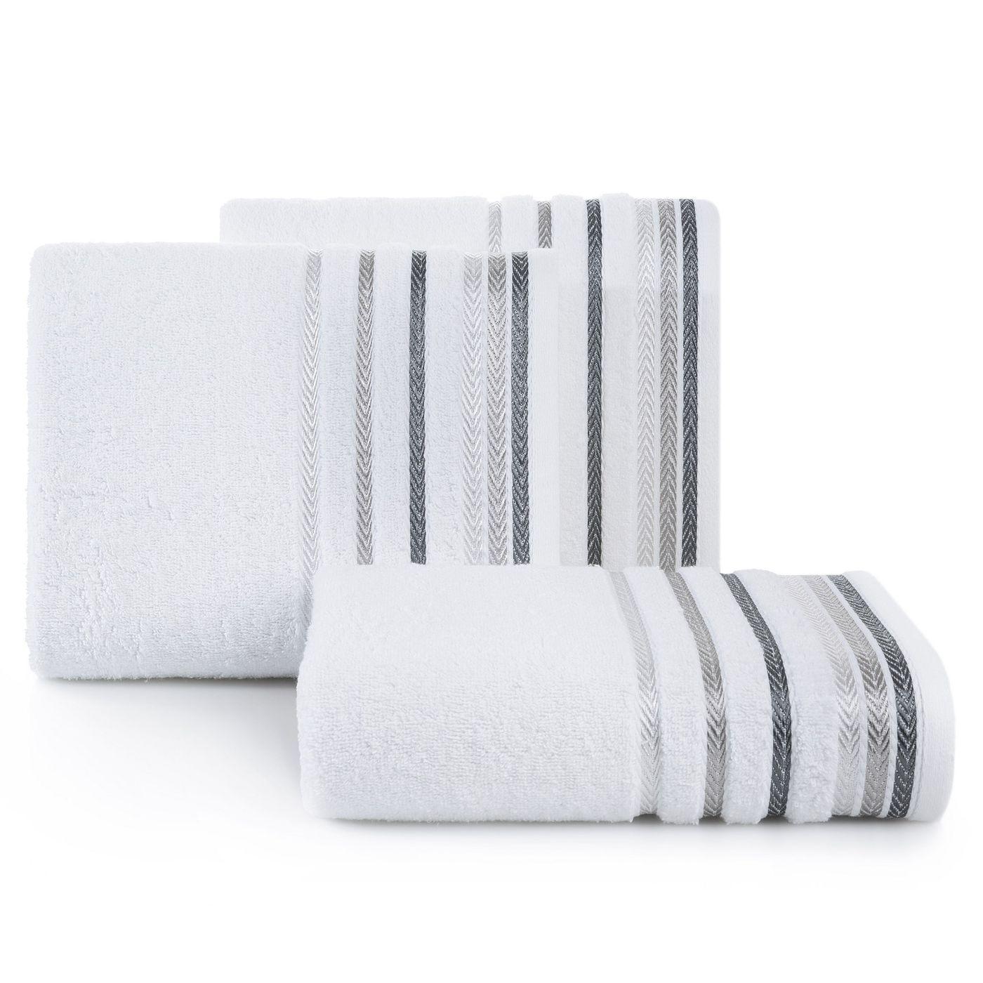 Ręcznik z bawełny z kolorowymi paskami w jodełkę 70x140cm biały