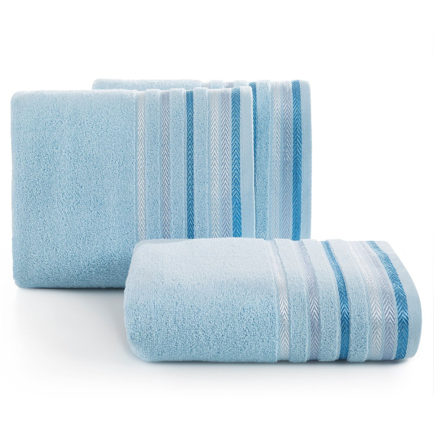 Ręcznik z bawełny z kolorowymi paskami w jodełkę 50x90cm niebieski