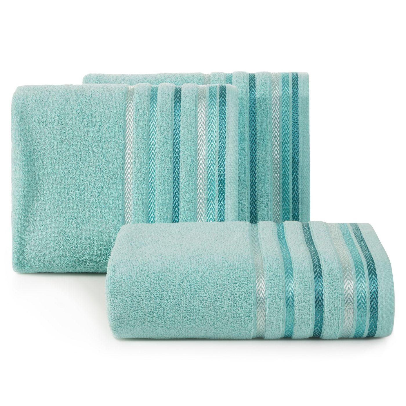 Ręcznik z bawełny z kolorowymi paskami w jodełkę 70x140cm turkusowy