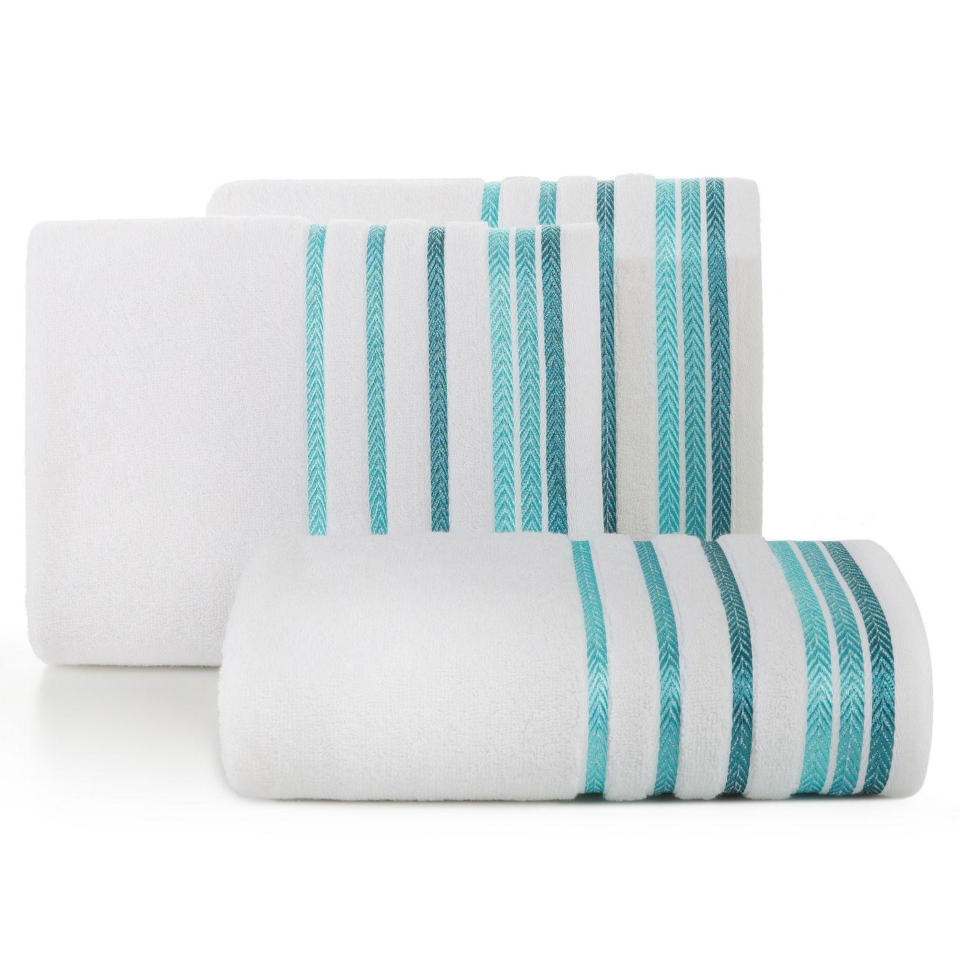 Ręcznik z bawełny z kolorowymi paskami w jodełkę 70x140cm biały+turkusowy
