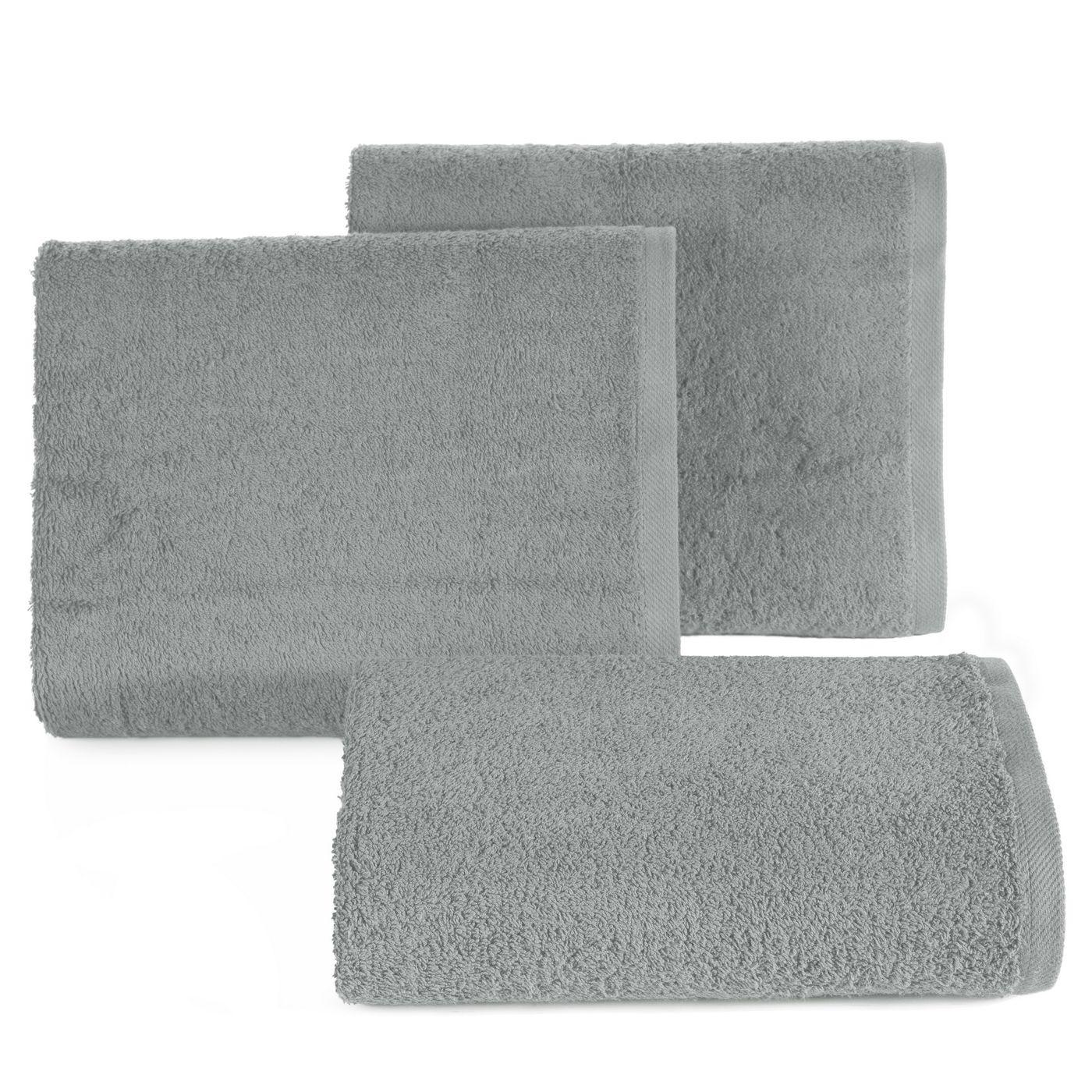 Gładki ręcznik kąpielowy stalowy szary 50x90 cm