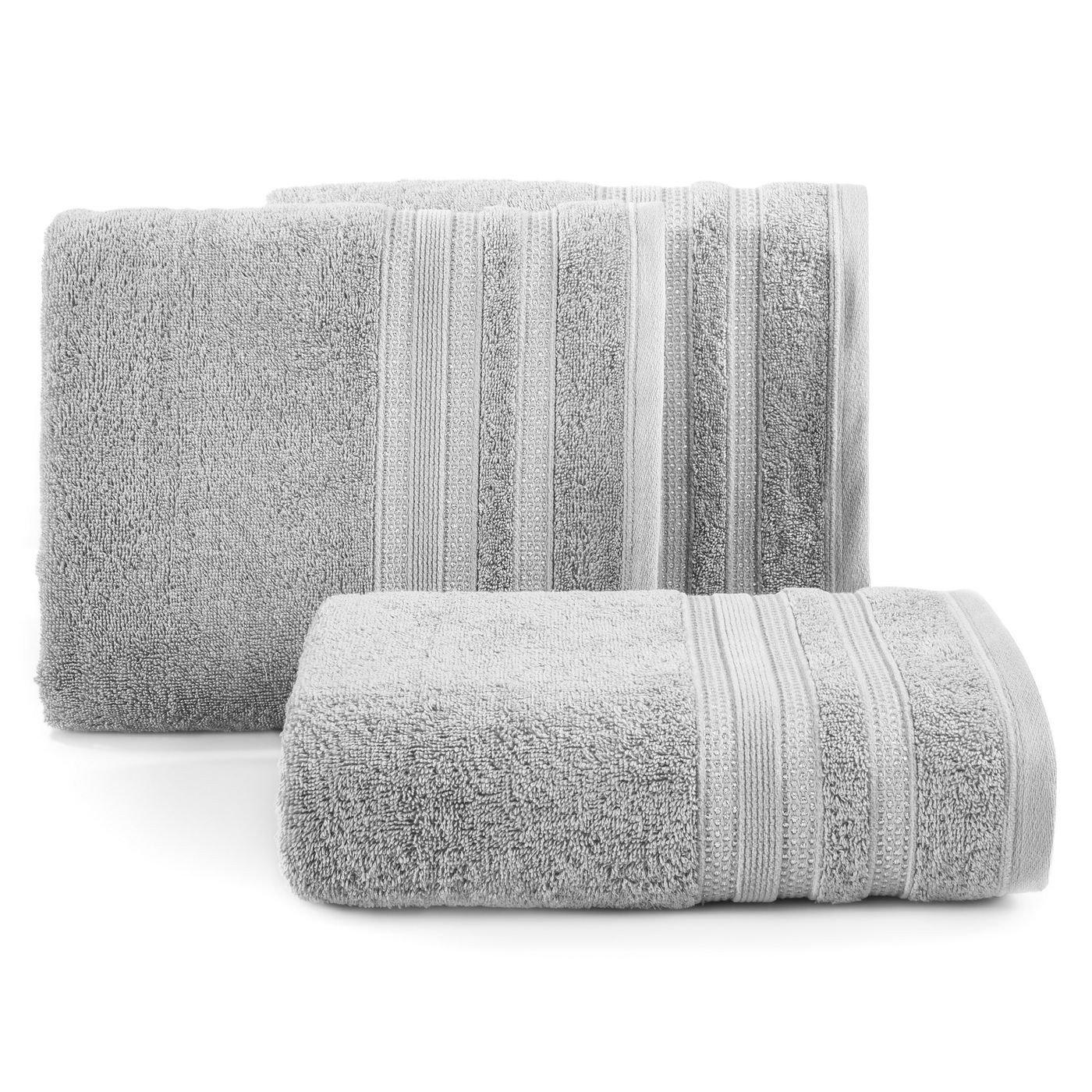 Ręcznik z bawełny zdobiony błyszczącą nitką 70x140cm szary