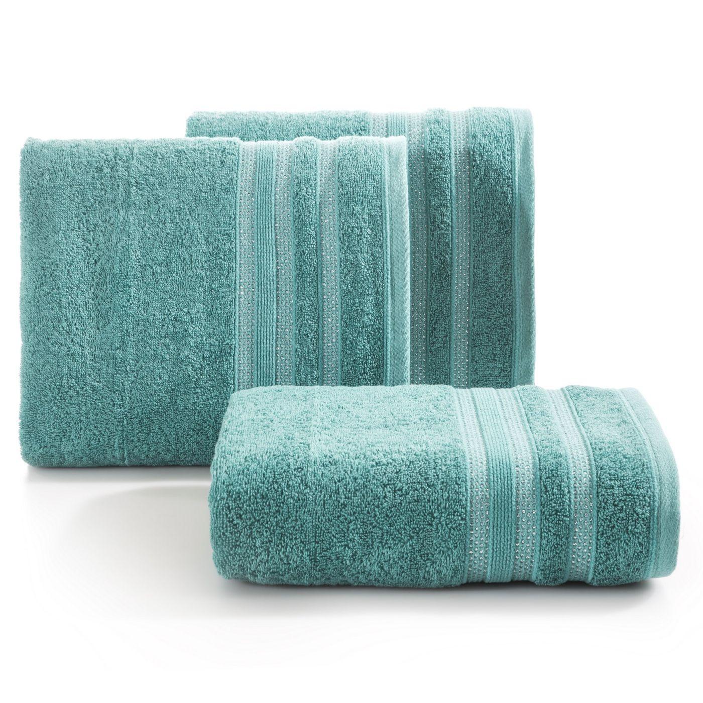 Ręcznik z bawełny zdobiony błyszczącą nitką 70x140cm turkusowy