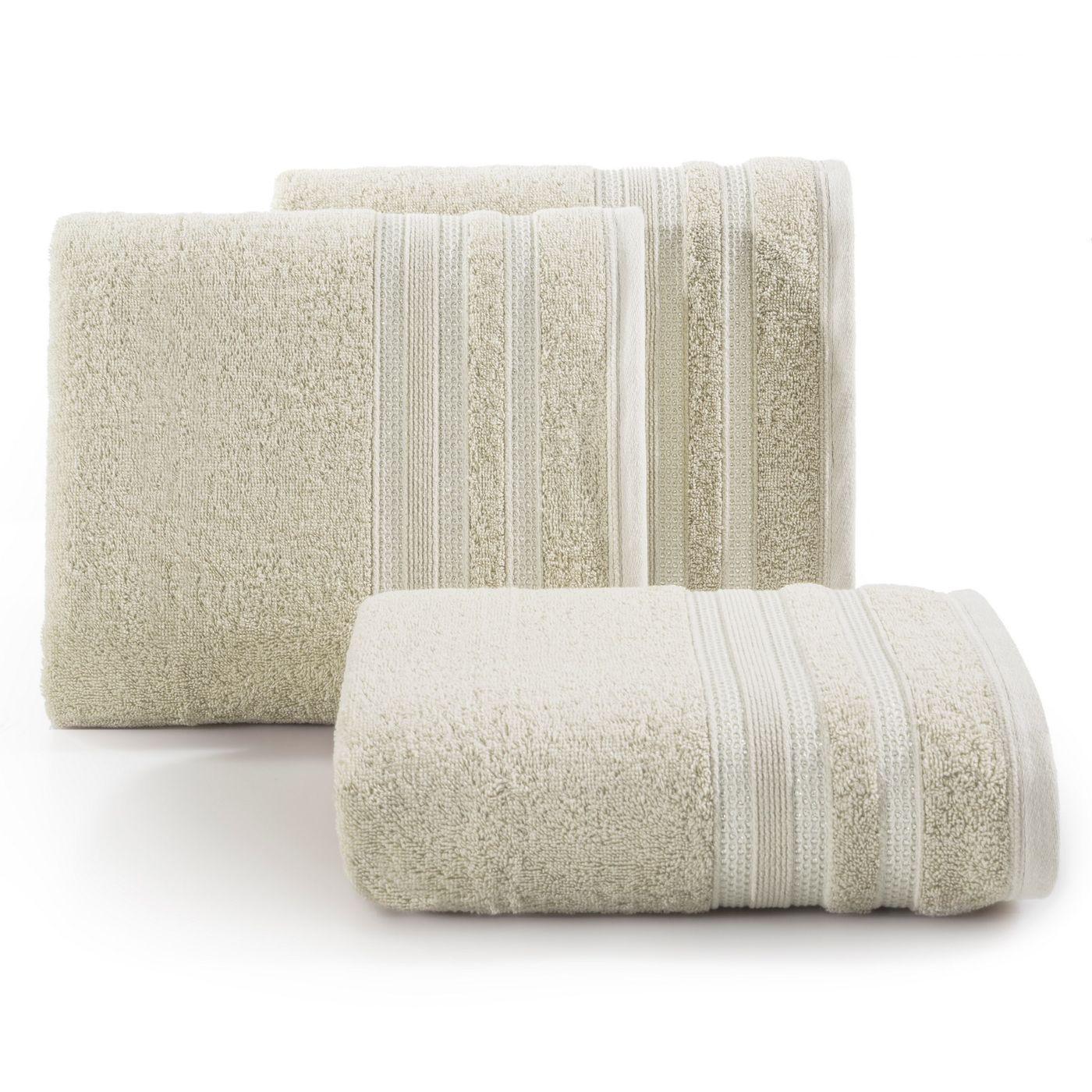 Ręcznik z bawełny zdobiony błyszczącą nitką 50x90cm beżowy