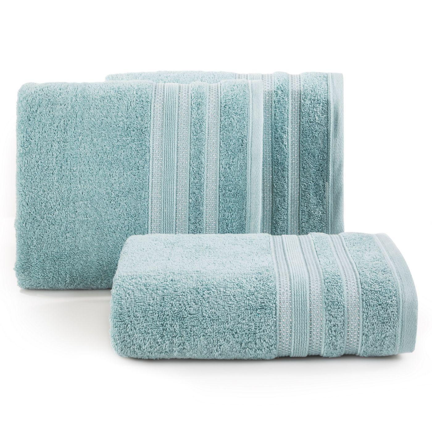 Ręcznik z bawełny zdobiony błyszczącą nitką 50x90cm miętowy