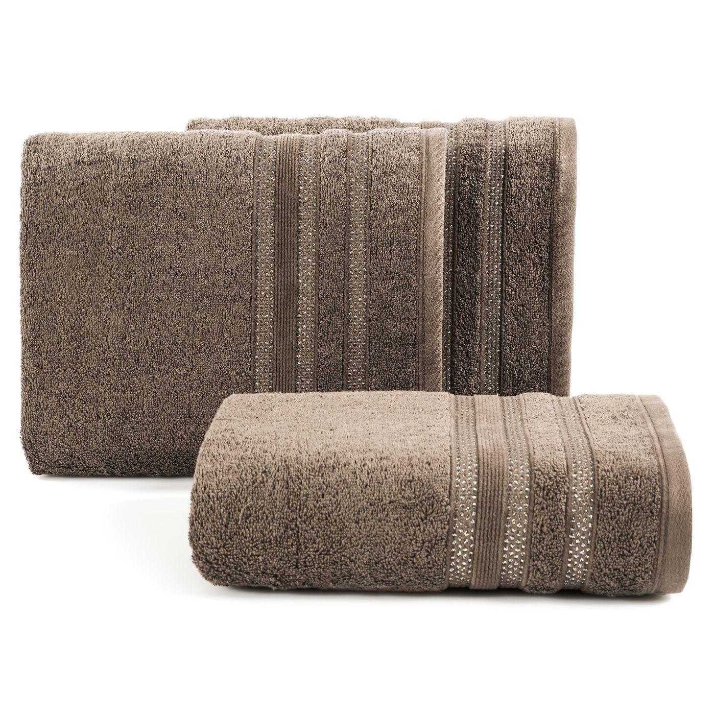 Ręcznik z bawełny zdobiony błyszczącą nitką 50x90cm brązowy