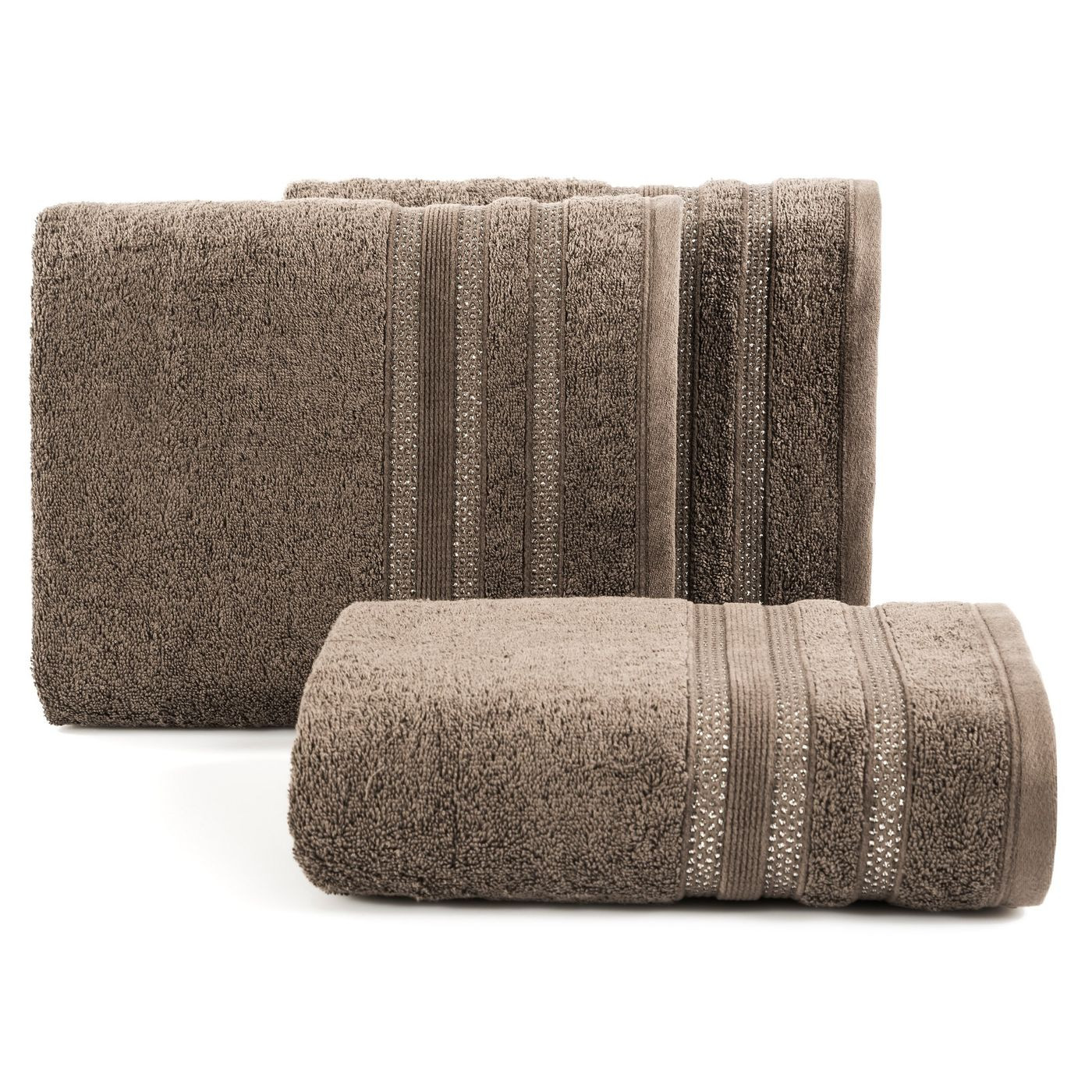 Ręcznik z bawełny zdobiony błyszczącą nitką 70x140 cm brązowy