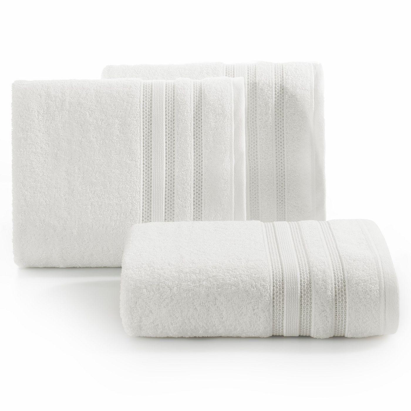 Ręcznik z bawełny zdobiony błyszczącą nitką 70x140cm kremowy
