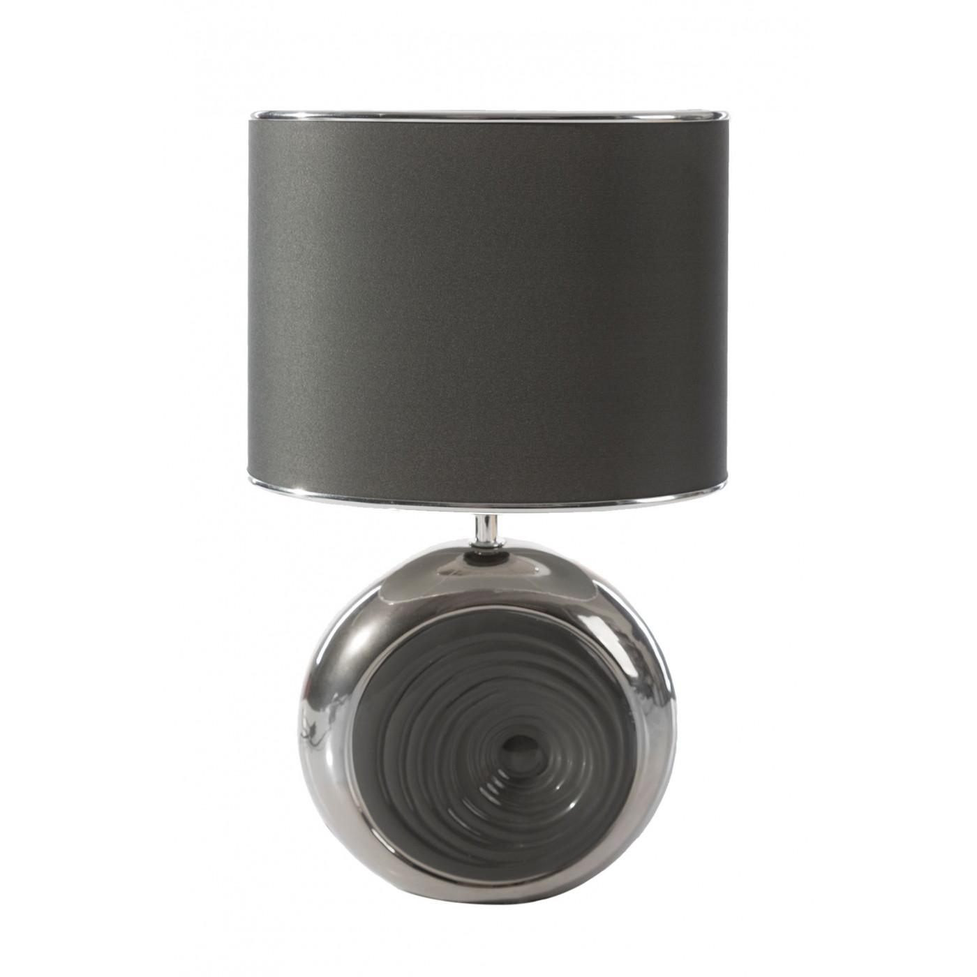Lampka dekoracyjna ceramiczna stalowo - srebrna 43 cm