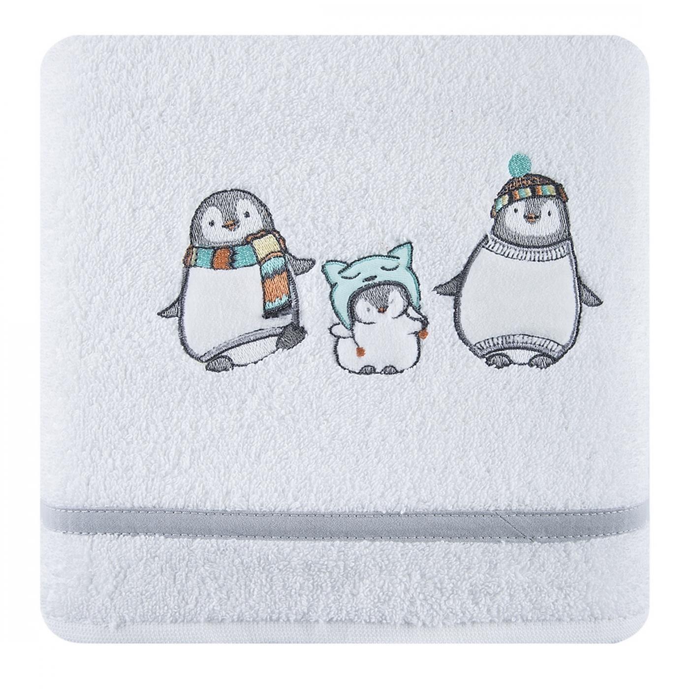 Ręcznik dziecięcy z aplikacją z pingwinkami 50x90cm