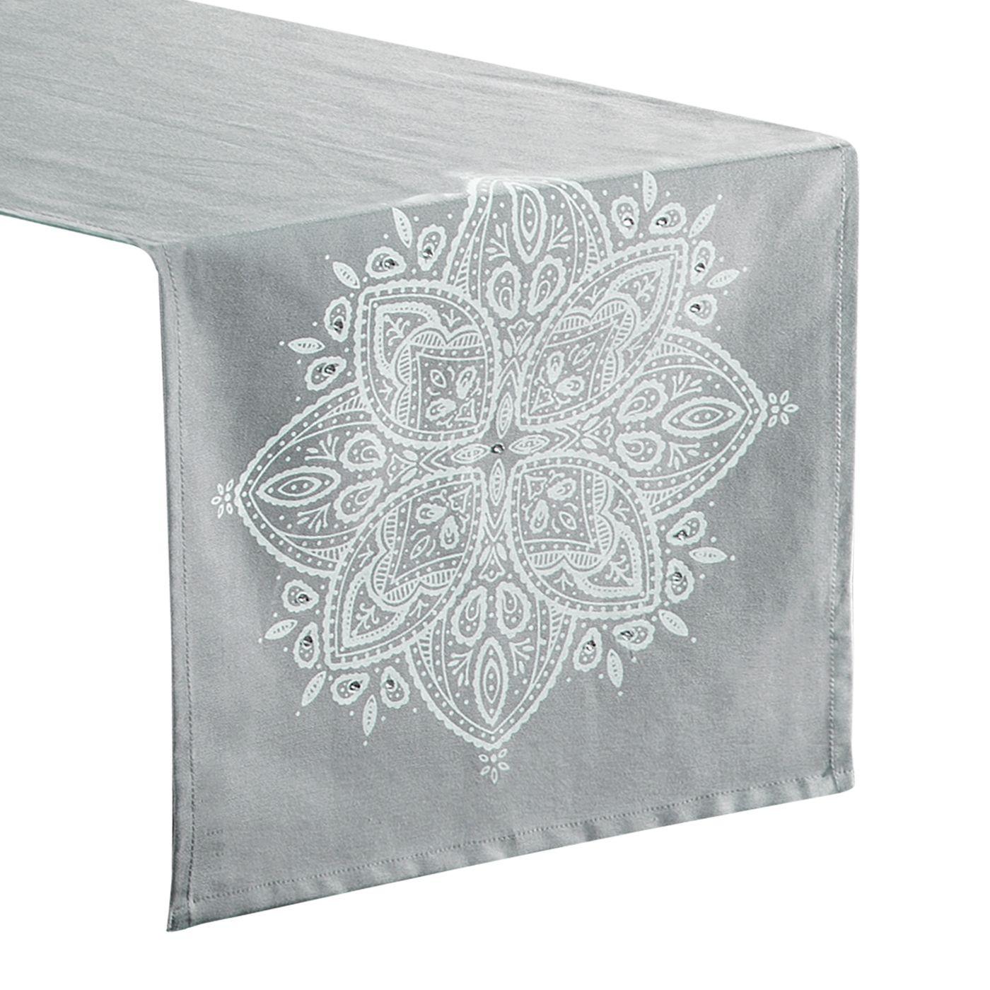 Bieżnik srebrny aplikacja z kryształkami 40 x 140 cm