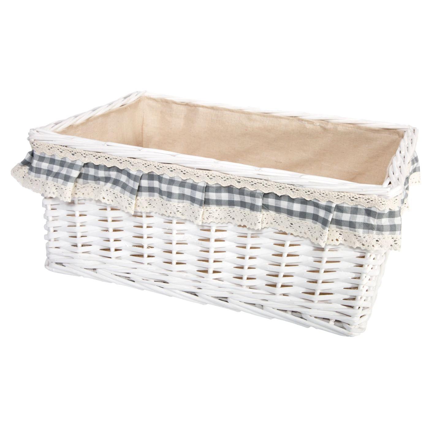 Koszyk z wikliny 43 x 31 x 8 cm biały z aplikacją