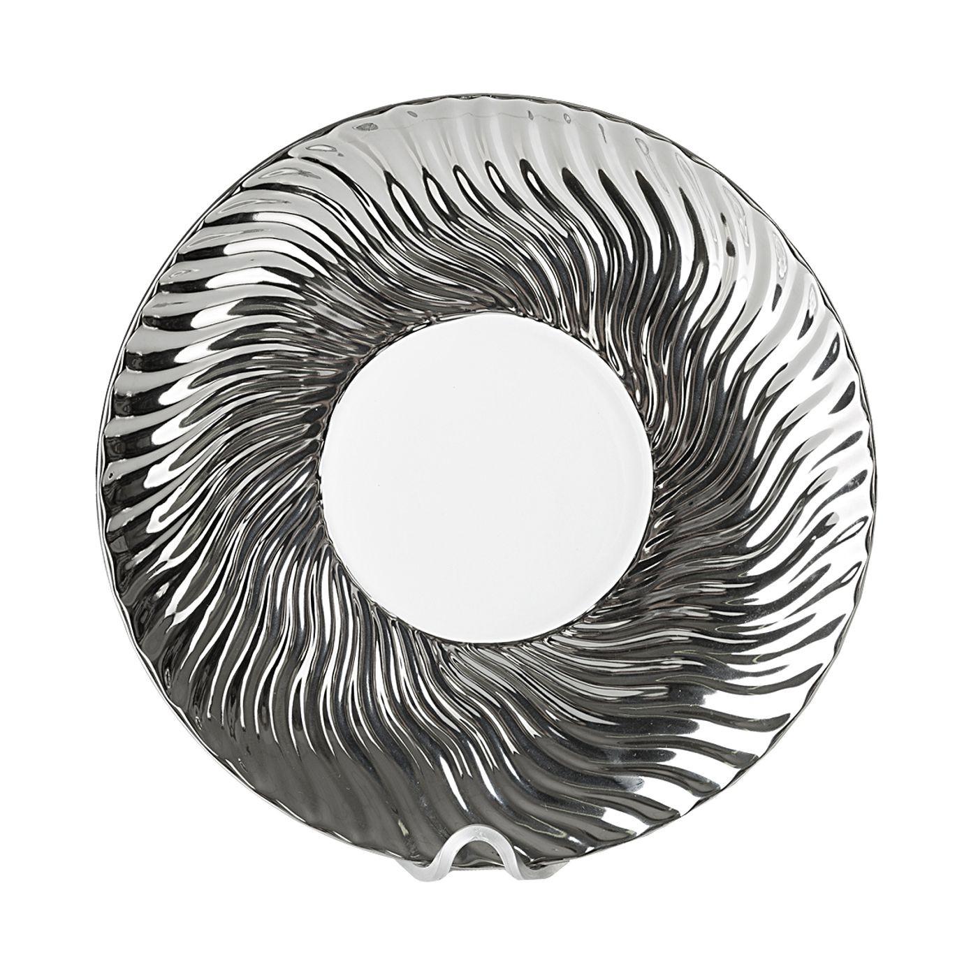 Patera ceramiczna srebrno-biała