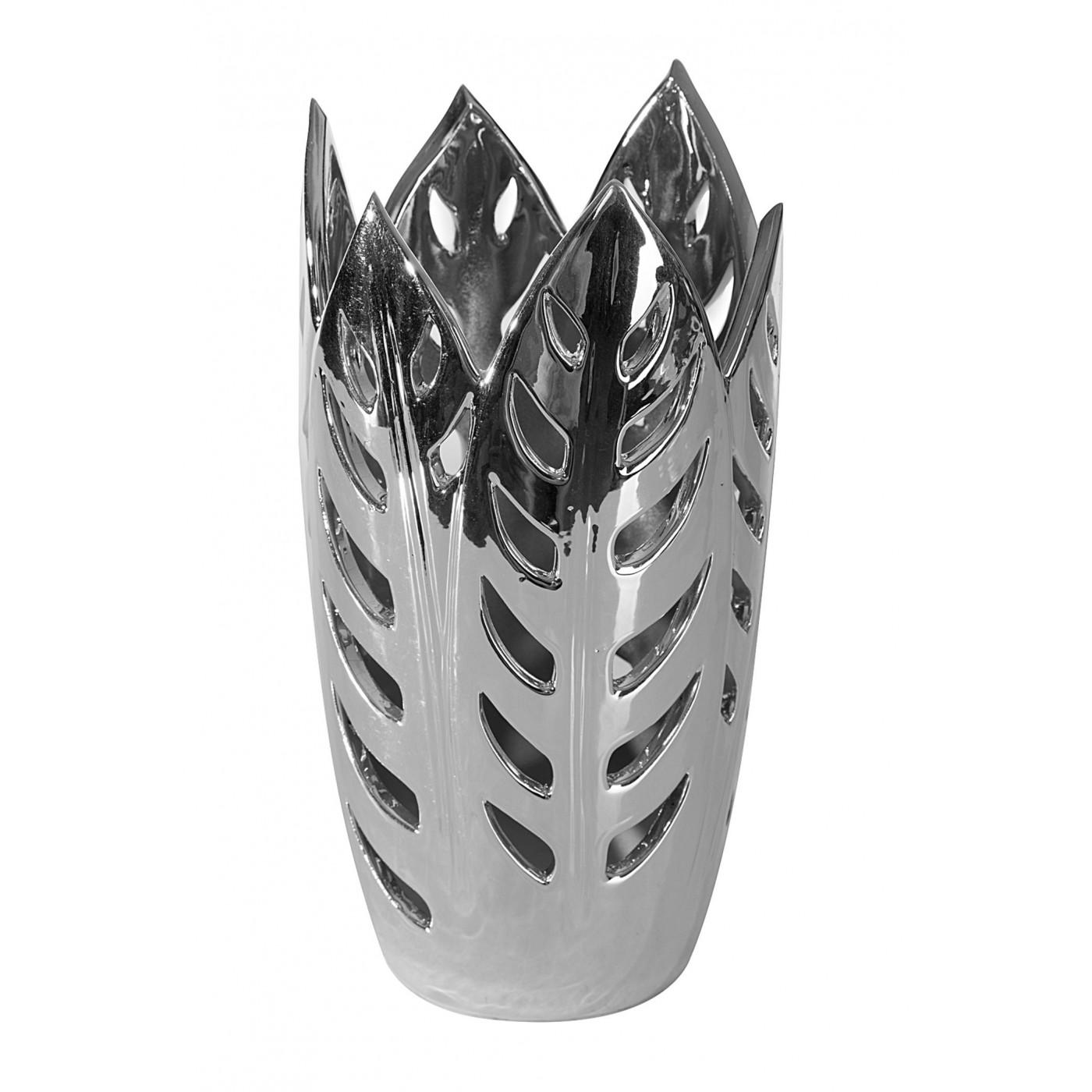 Wazon ceramiczny ażurowy srebrny 29 cm
