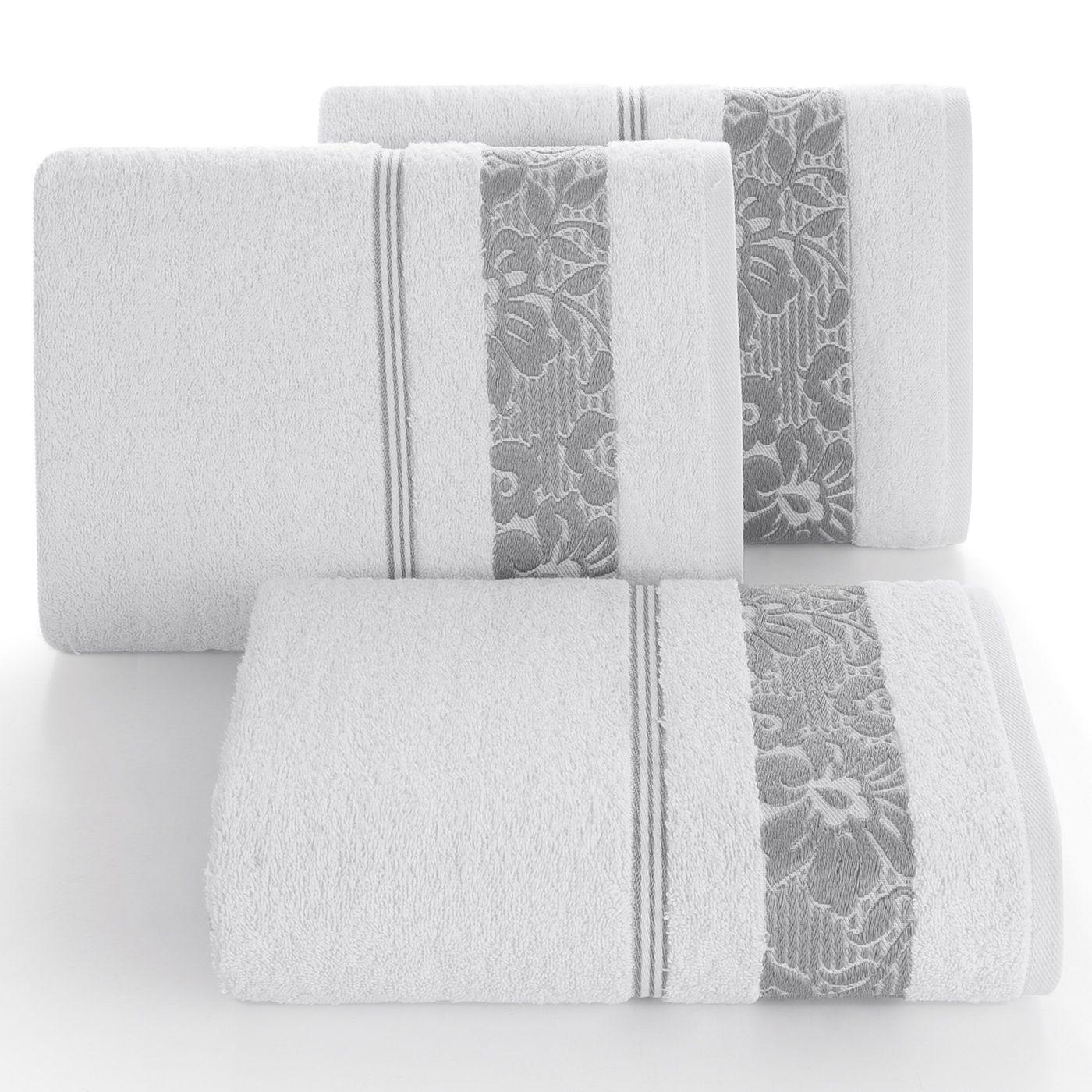 Ręcznik z bawełny z kwiatowym wzorem na bordiurze 70x140cm biały+szary