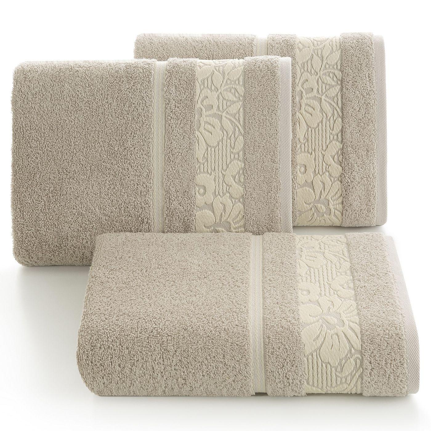 Ręcznik z bawełny z kwiatowym wzorem na bordiurze 50x90cm beżowy