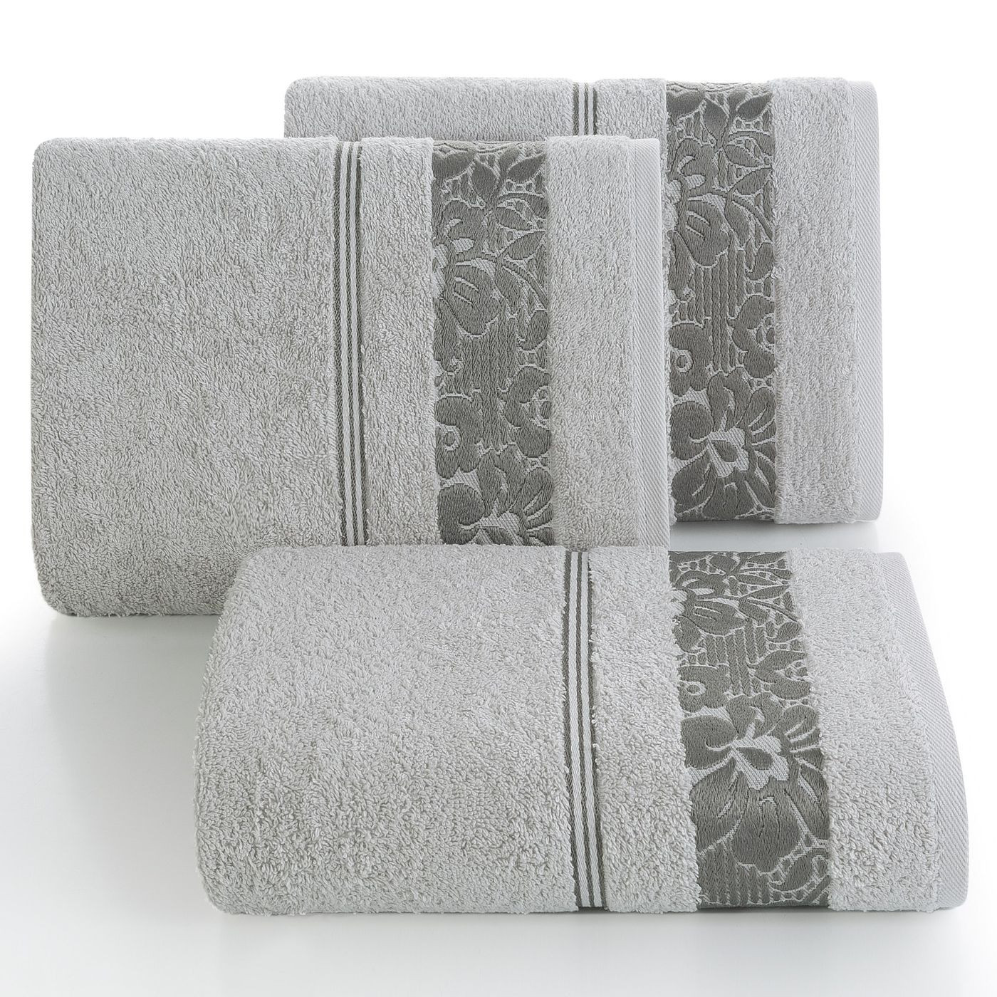 Ręcznik z bawełny z kwiatowym wzorem na bordiurze 50x90cm popielaty