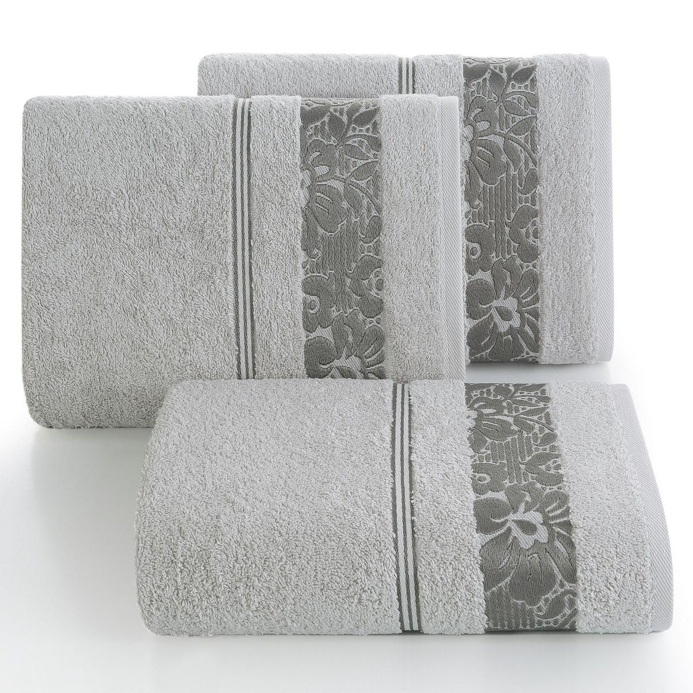 Ręcznik z bawełny z kwiatowym wzorem na bordiurze 70x140cm popielaty