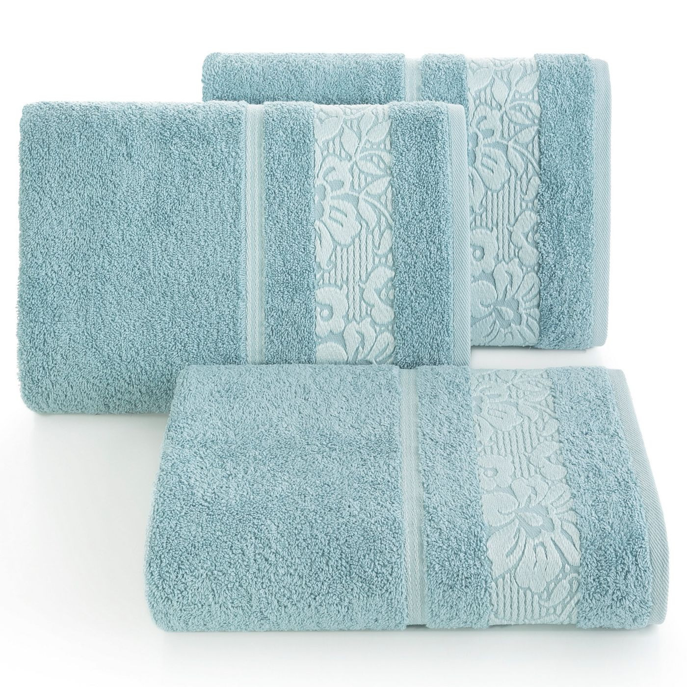 Ręcznik z żakardową bordiurą motyw roślinny jasnoniebieski 70x140 cm