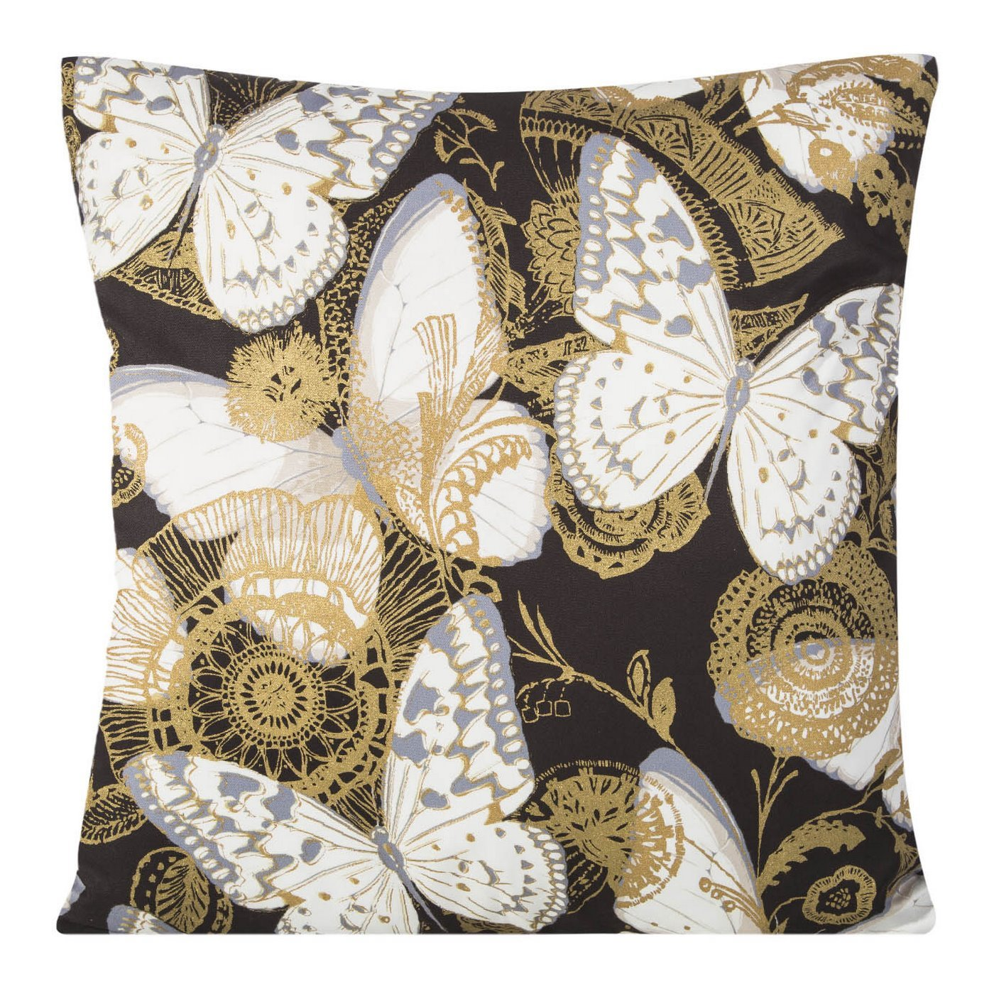 Poszewka na poduszkę 45 x 45 cm białe motyle na czarnym tle