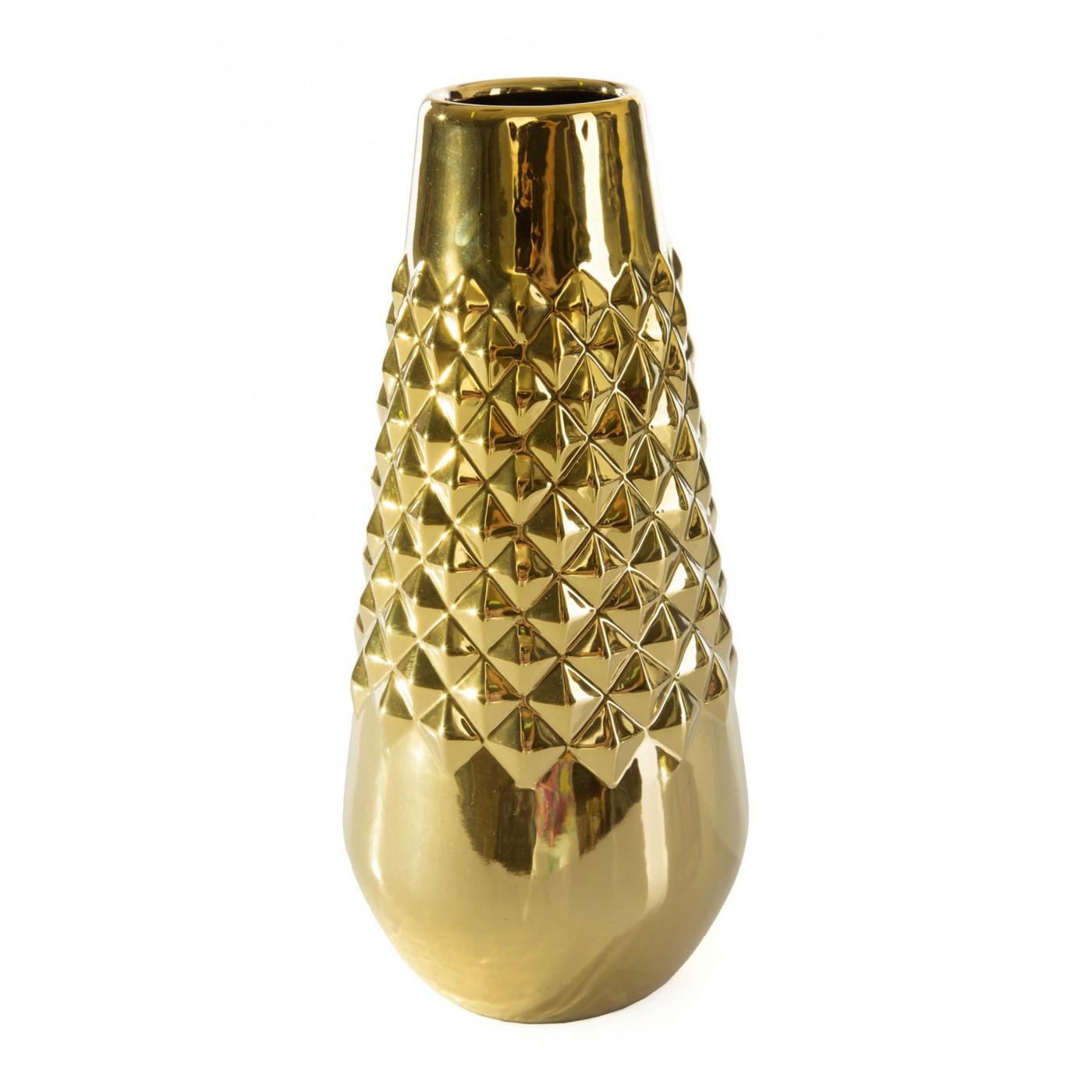 Dekoracyjny wazon ceramiczny wytłaczany złoty 35 cm