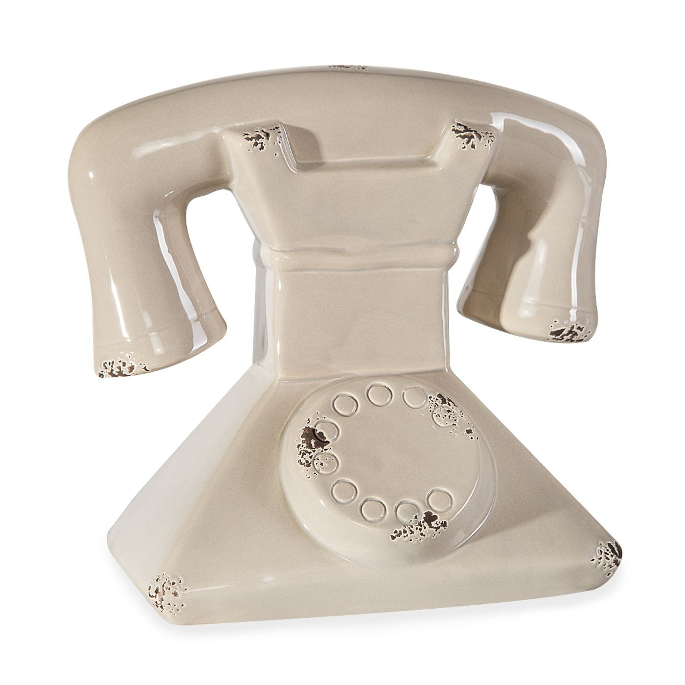 EVEREN CERAMICZNA FIGURKA DEKORACYJNA KOŁO TELEFON Z DOLOMITU 18x13x17 cm