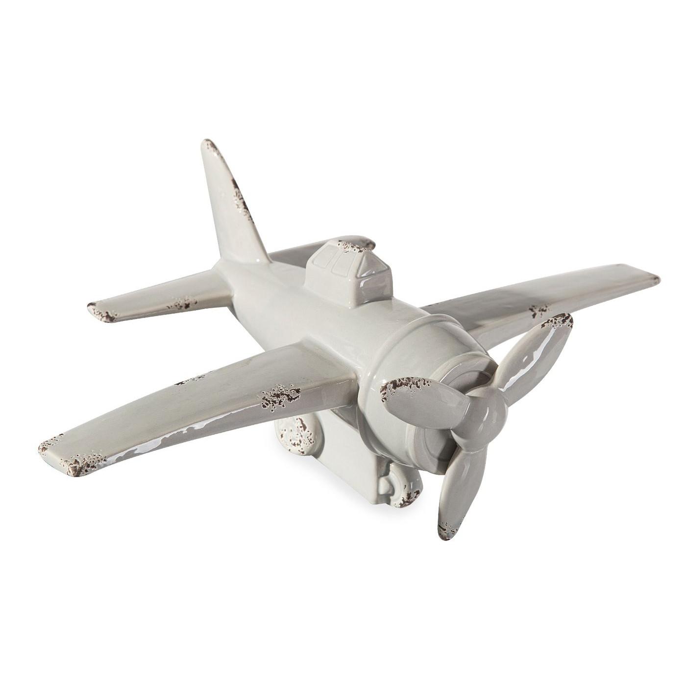 Figurka z dolomitu samolot 33 x 21 x 12 cm shabby chic