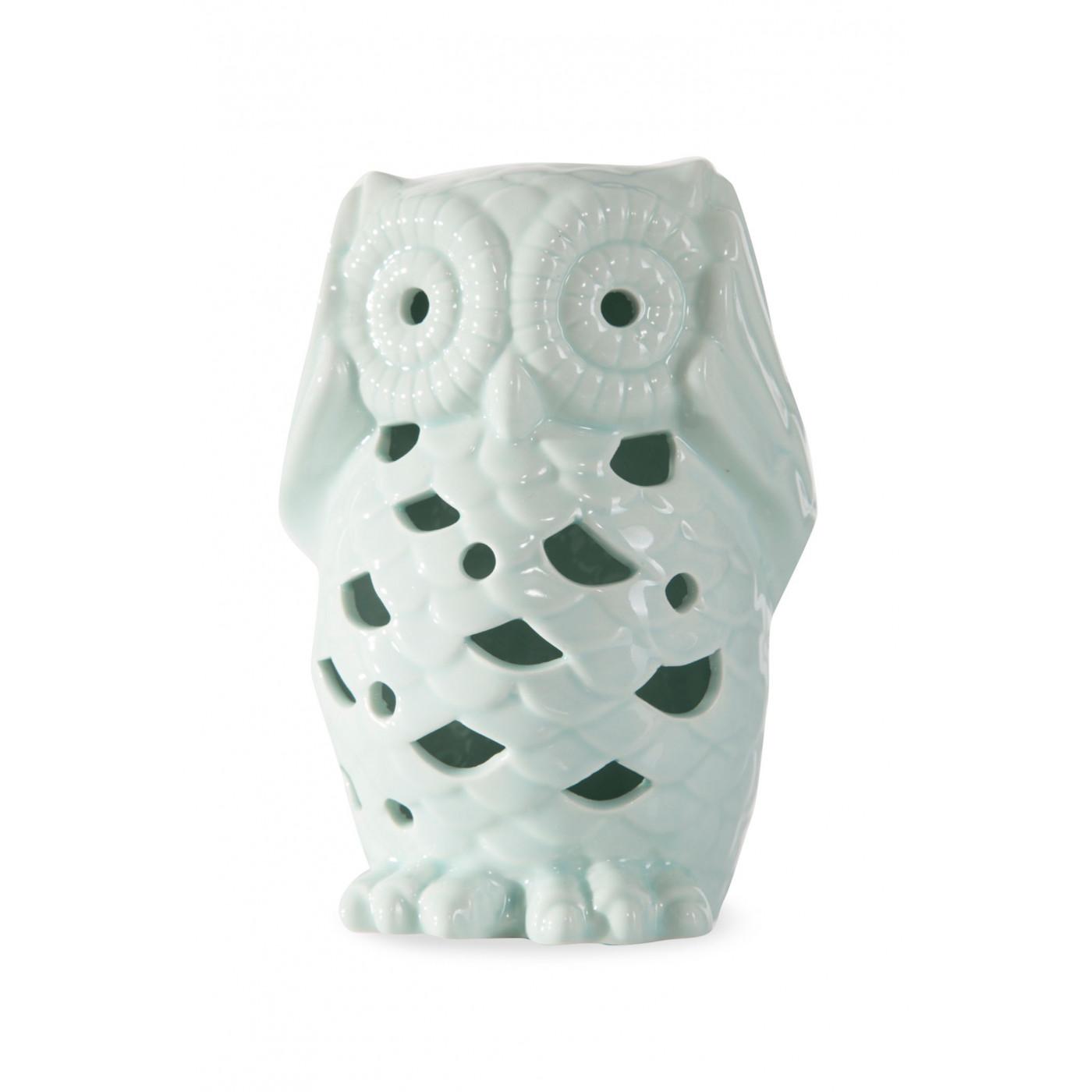 Figurka ceramiczna miętowa sowa ażur 14 cm