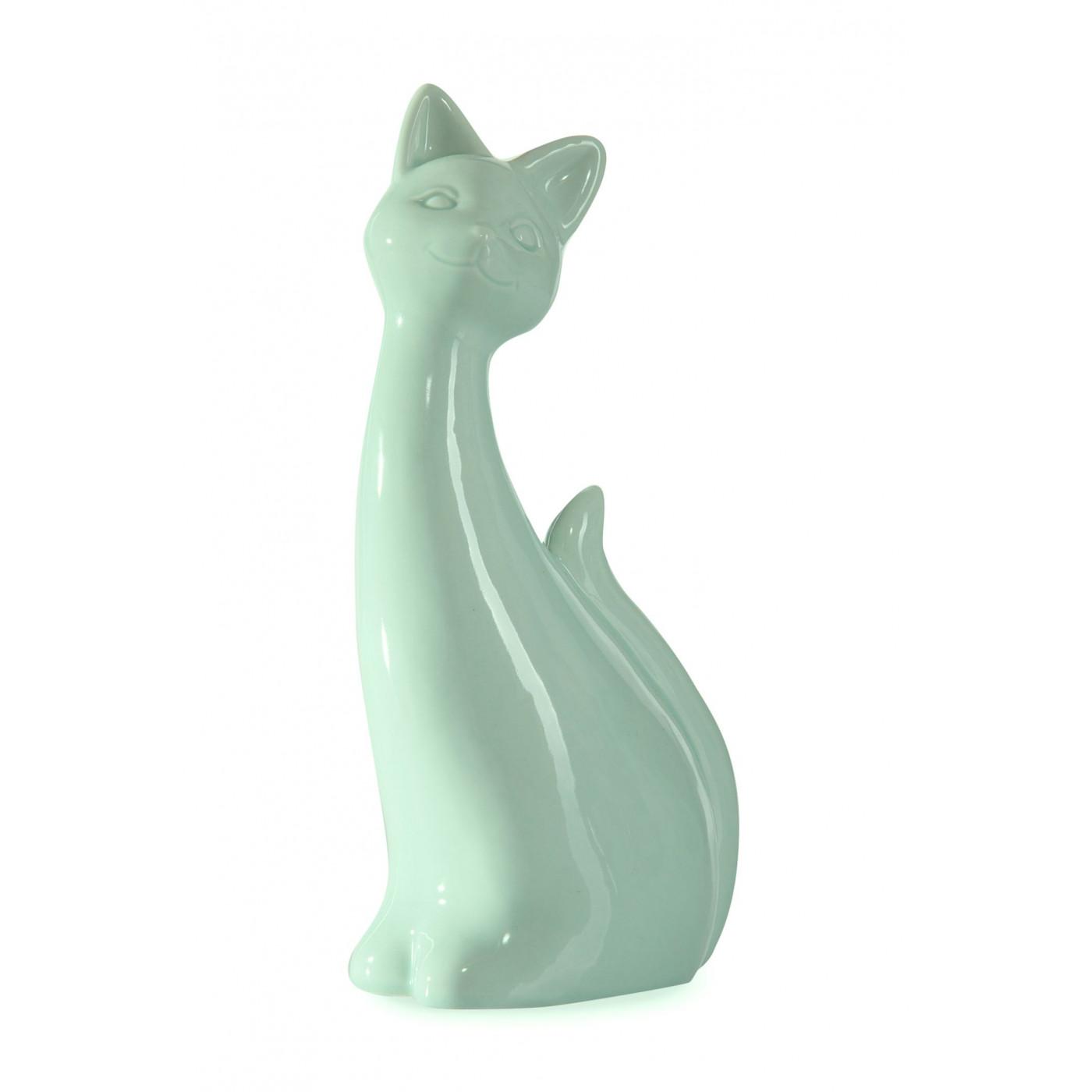 Figurka ceramiczna kot kolor miętowy 20 cm