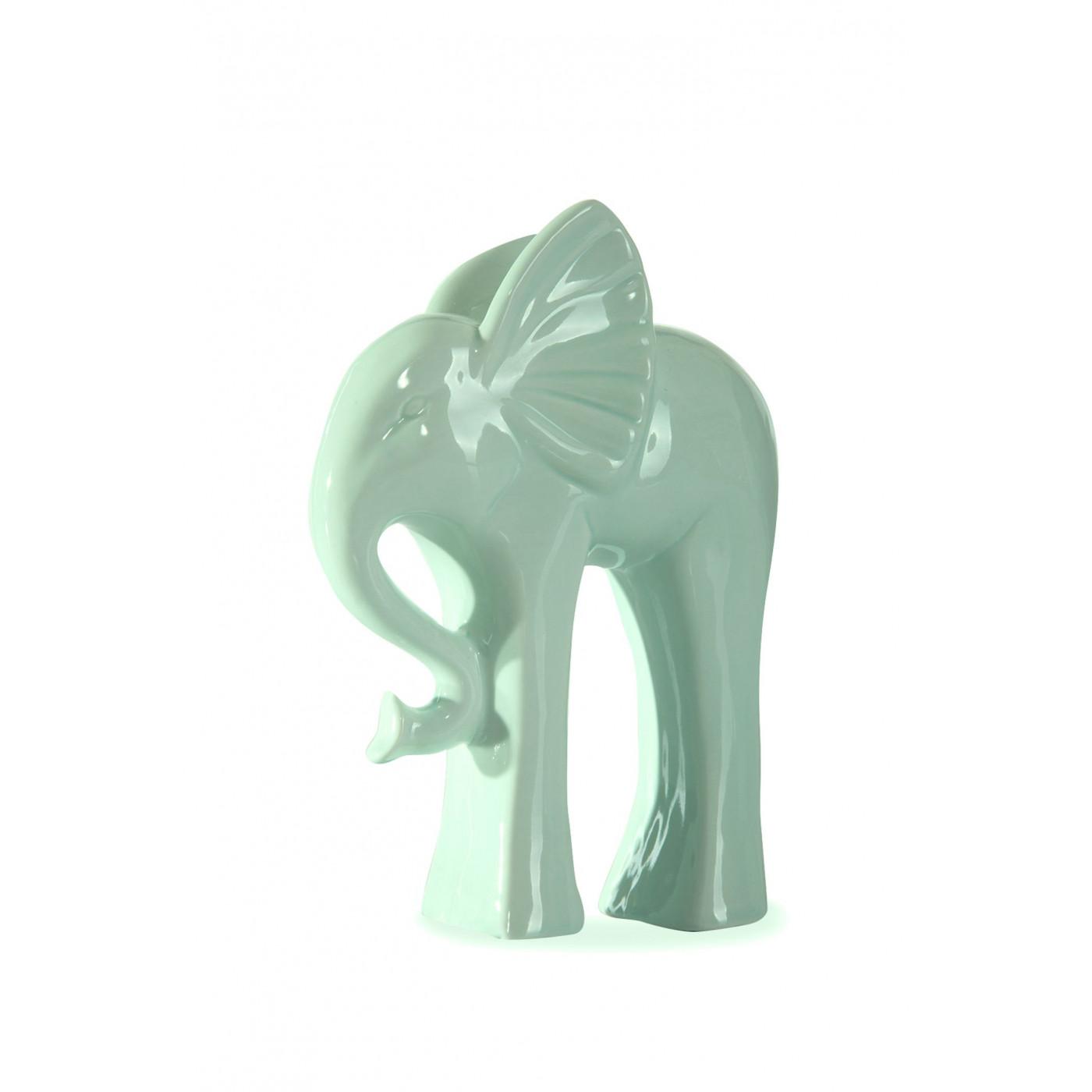 Figurka ceramiczna słoń kolor miętowy 18 cm