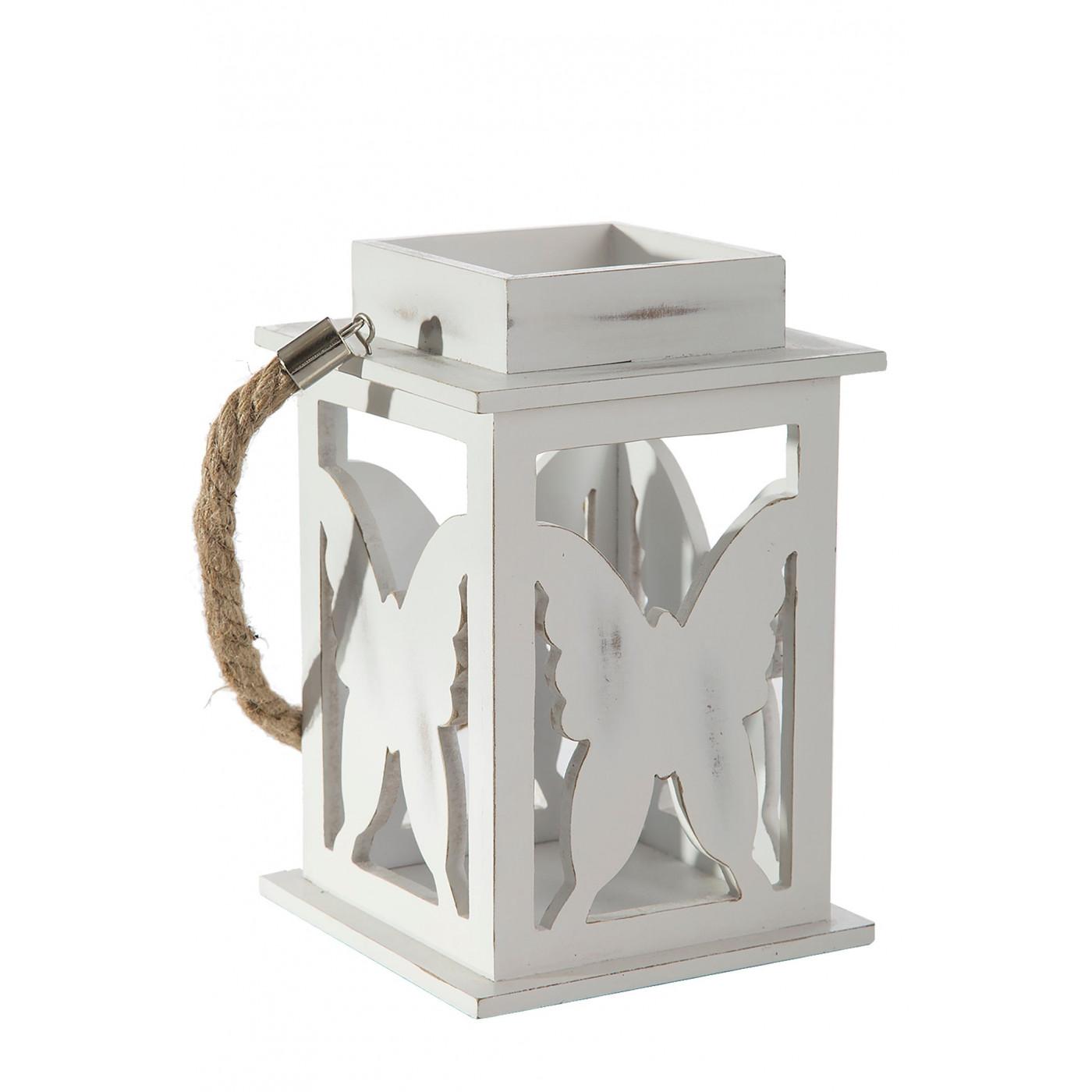 Lampion dekoracyjny drewniany biały 21 cm